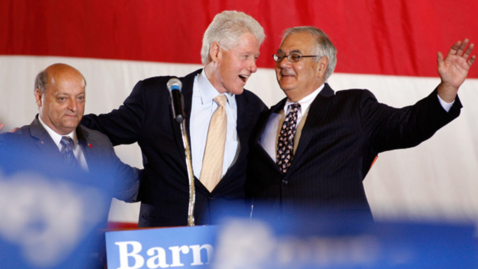 Sept. 26: Taunton, Mass., Mayor Charles Crowley, left, joins Bill Clinton and Barney Frank at a campaign rally.