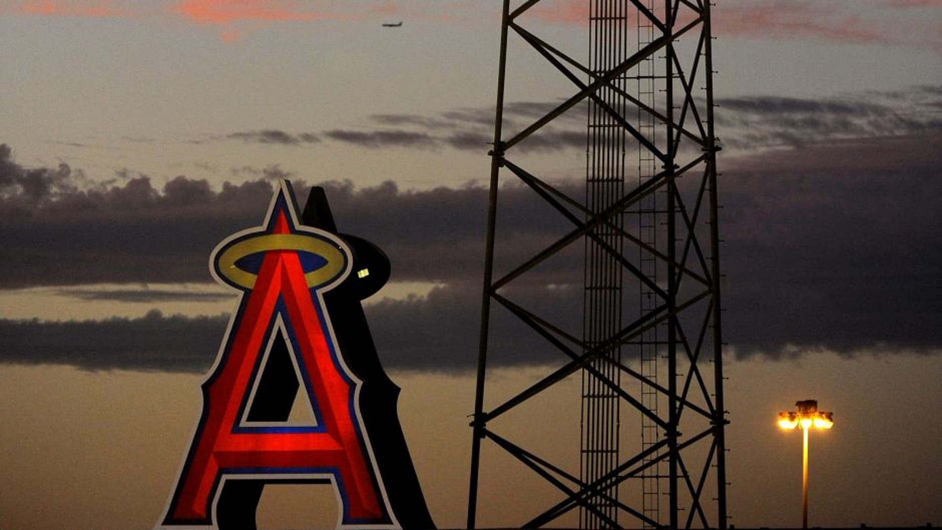 ANAHEIM, CA - AUGUST 25: A general view of the stadium lights at sunset during the game between the Miami Marlins and Los Angeles Angels of Anaheim on August 25, 2014 at Angel Stadium of Anaheim in Anaheim, California. (Photo by Jordan Murph/Angels Baseball LP/Getty Images)