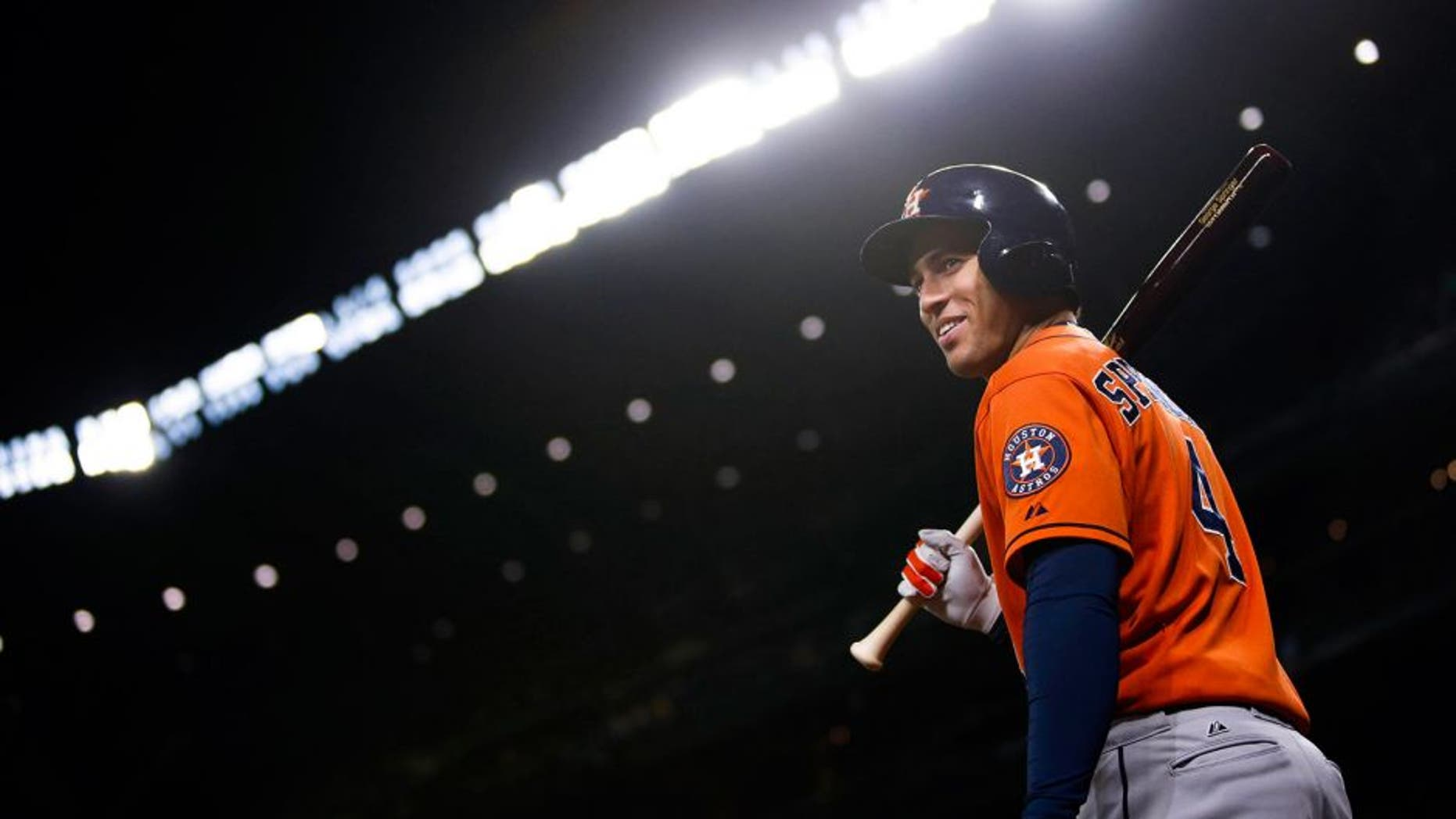 Sep 28, 2015; Seattle, WA, USA; Houston Astros right fielder George Springer (4) stands in the on-deck circle during the fifth inning against the Seattle Mariners at Safeco Field. Mandatory Credit: Joe Nicholson-USA TODAY Sports