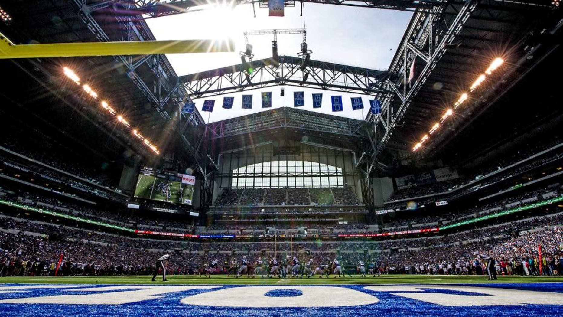 Oct 4, 2015; Indianapolis, IN, USA; An overall view at the Indianapolis Colts play against the Jacksonville Jaguars at Lucas Oil Stadium. Mandatory Credit: Thomas J. Russo-USA TODAY Sports