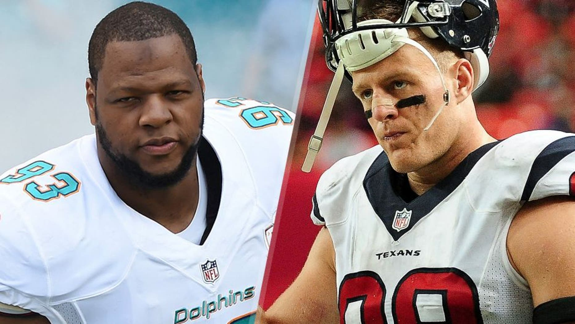 Ndamukong Suh #93 of the Miami Dolphins enters the field before a NFL game against the Buffalo Bills at Sun Life Stadium on September 27, 2015 in Miami Gardens, Florida. (Photo by Ron Elkman/Sports Imagery/Getty Images) J.J. Watt #99 of the Houston Texans stands on the sidelines in the second half against the Atlanta Falcons at the Georgia Dome on October 4, 2015 in Atlanta, Georgia. (Photo by Scott Cunningham/Getty Images)