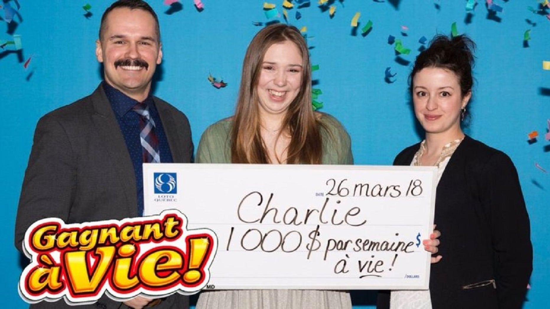 Charlie Lagarde celebrated her 18th birthday with a lotto ticket that turned out to be a gift worth $1,000 a week for life.