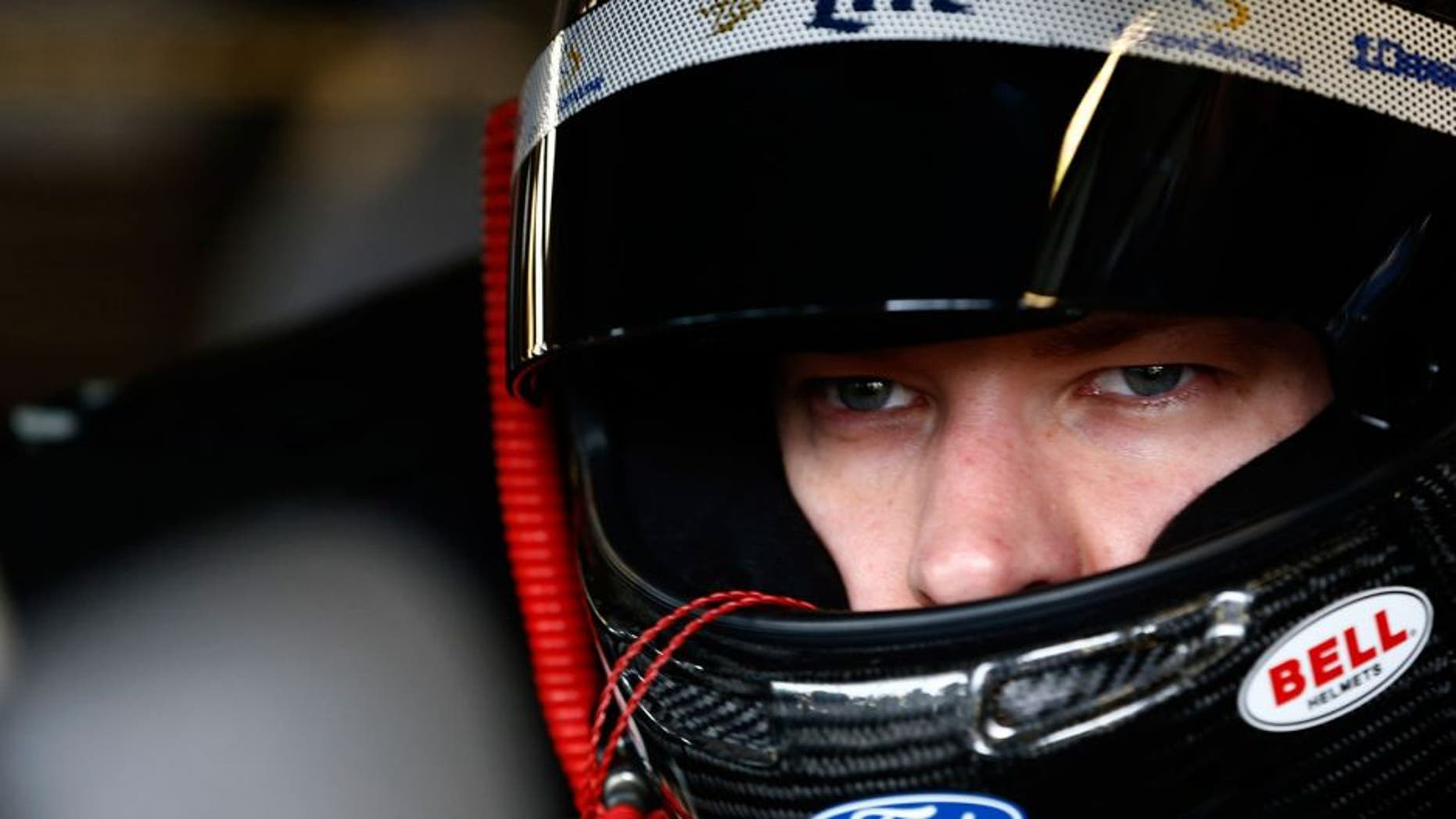 JOLIET, IL - SEPTEMBER 18: Brad Keselowski, driver of the #2 Miller Lite Ford, sits in his car during practice for the NASCAR Sprint Cup Series myAFibRisk.com 400 at Chicagoland Speedway on September 18, 2015 in Joliet, Illinois. (Photo by Jeff Zelevansky/NASCAR via Getty Images)