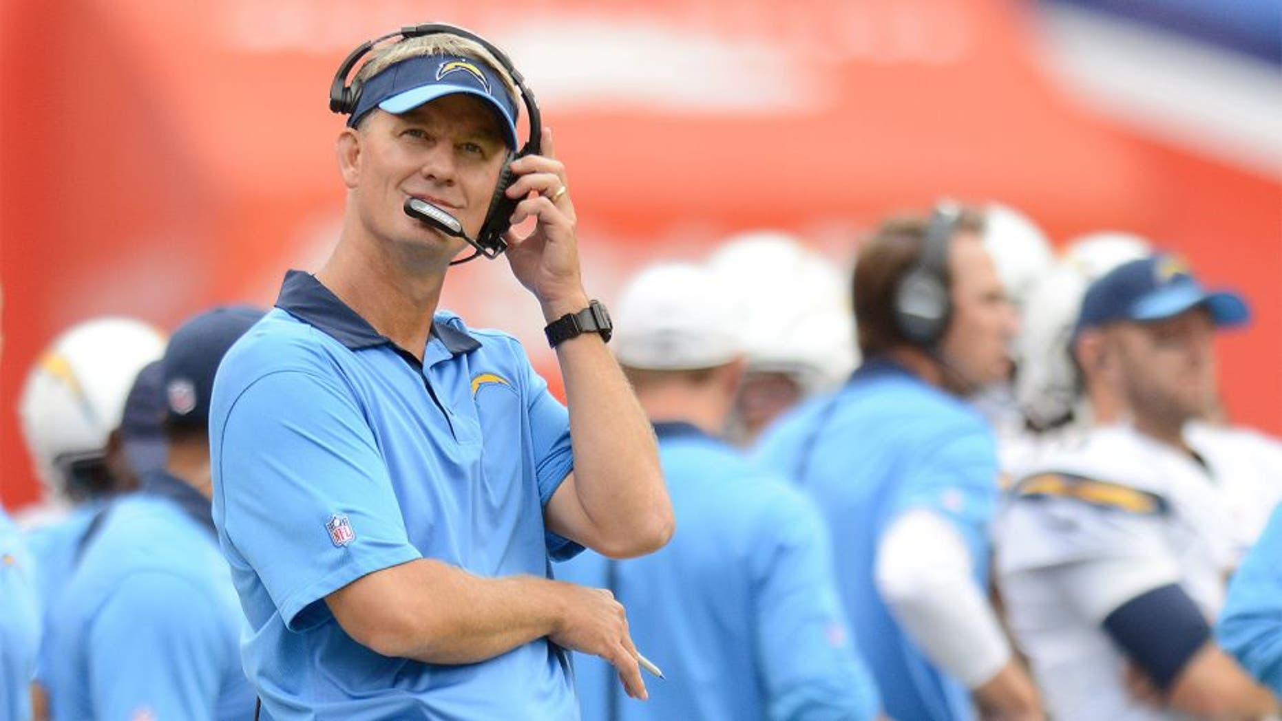 Oct 4, 2015; San Diego, CA, USA; San Diego Chargers head coach Mike McCoy looks on during the second quarter against the Cleveland Browns at Qualcomm Stadium. Mandatory Credit: Jake Roth-USA TODAY Sports