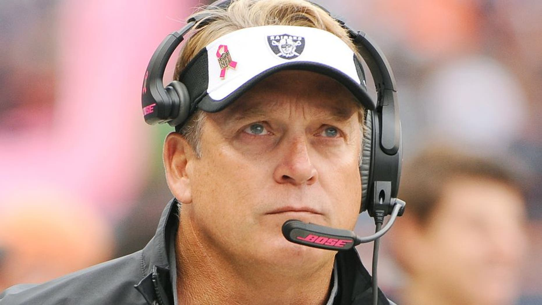 Oct 4, 2015; Chicago, IL, USA; Oakland Raiders head coach Jack Del Rio during the first quarter against the Chicago Bears at Soldier Field. Mandatory Credit: Matt Marton-USA TODAY Sports