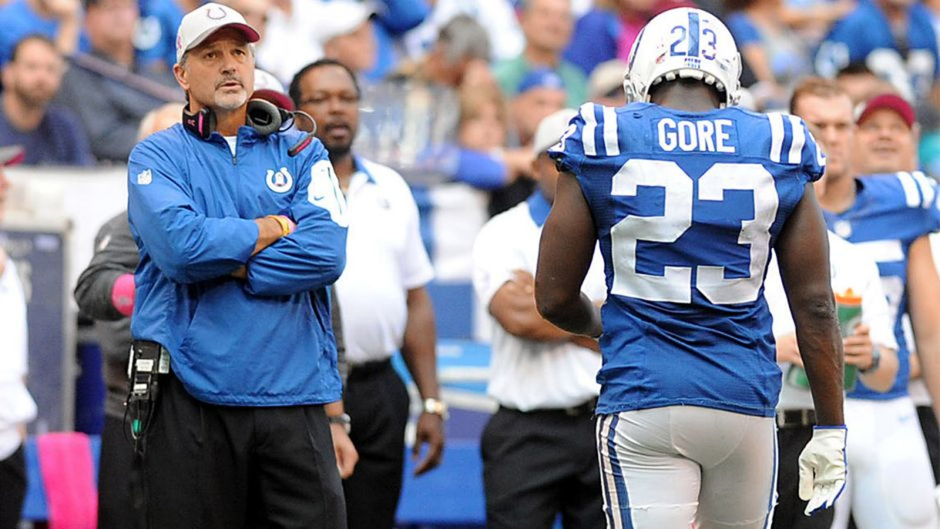 Oct 4, 2015; Indianapolis, IN, USA; Indianapolis head coach Chuck Pagano looks on as Colts running back Frank Gore (23) fumbled close to the goal line in the closing minutes of their game against the Jacksonville Jaguars at Lucas Oil Stadium. Mandatory Credit: Thomas J. Russo-USA TODAY Sports
