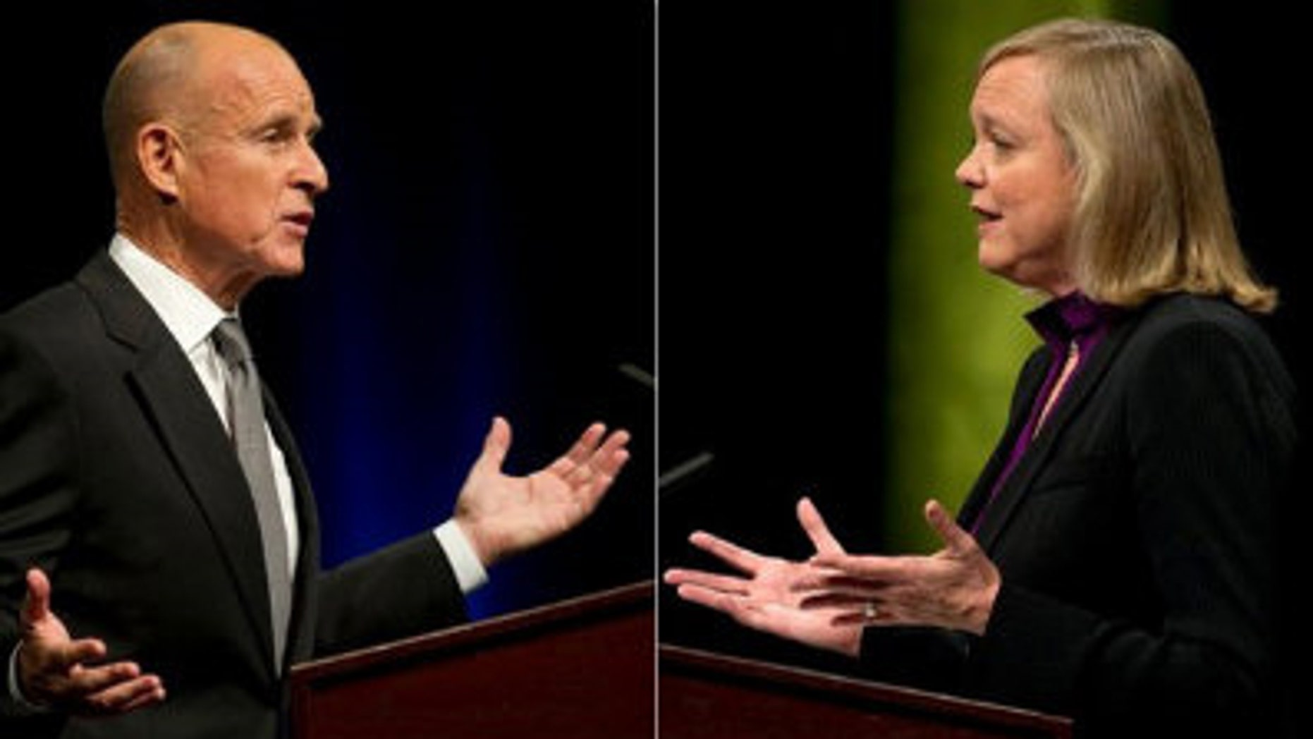 FILE: Democratic gubernatorial candidate Jerry Brown debates Republican Meg Whitman at the University of California at Davis on Sept. 28, 2010.