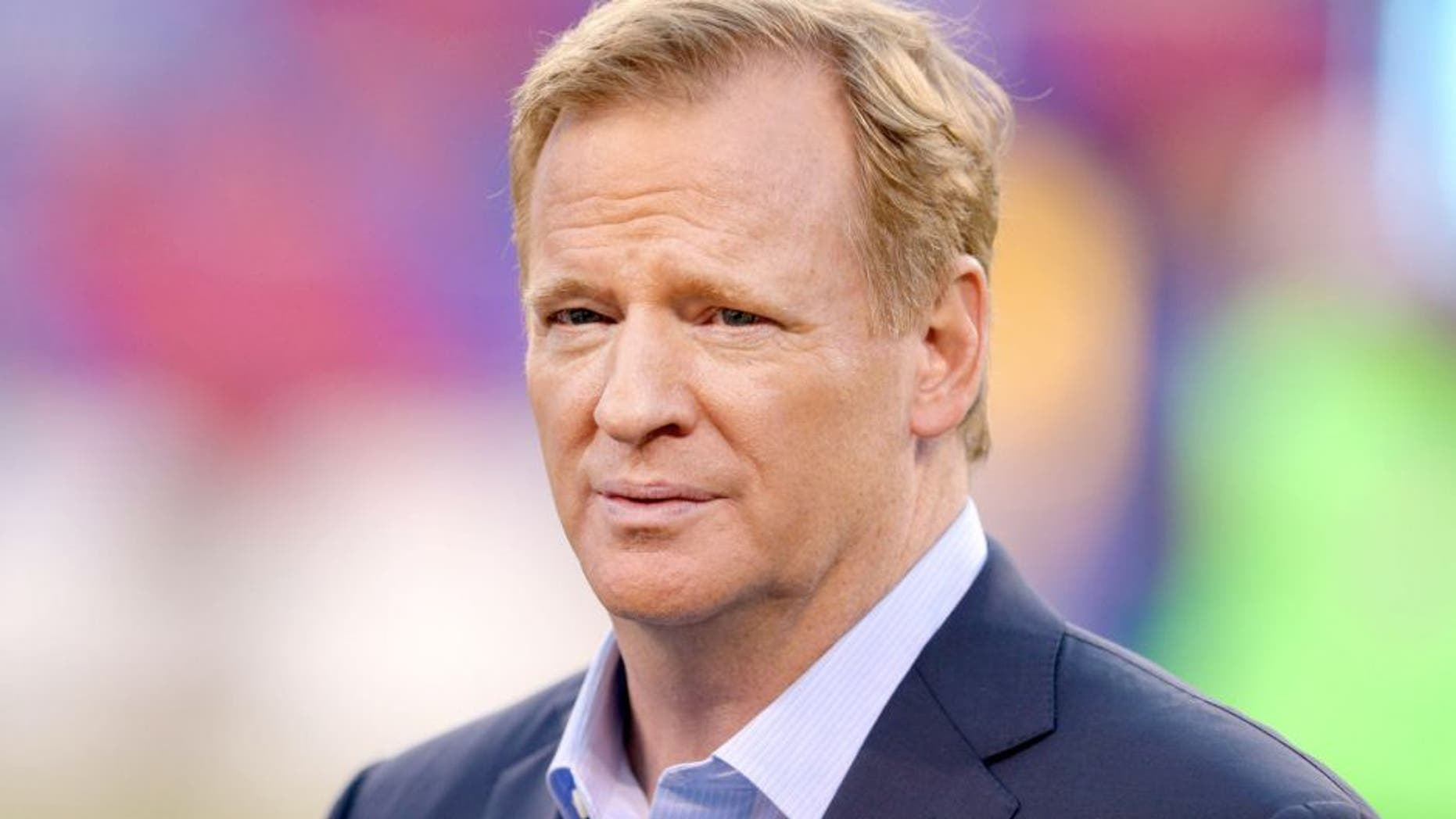 Sep 24, 2015; East Rutherford, NJ, USA; NFL commissioner Roger Goodell on the field before a game between the New York Giants and the Washington Redskins at MetLife Stadium. Mandatory Credit: Brad Penner-USA TODAY Sports