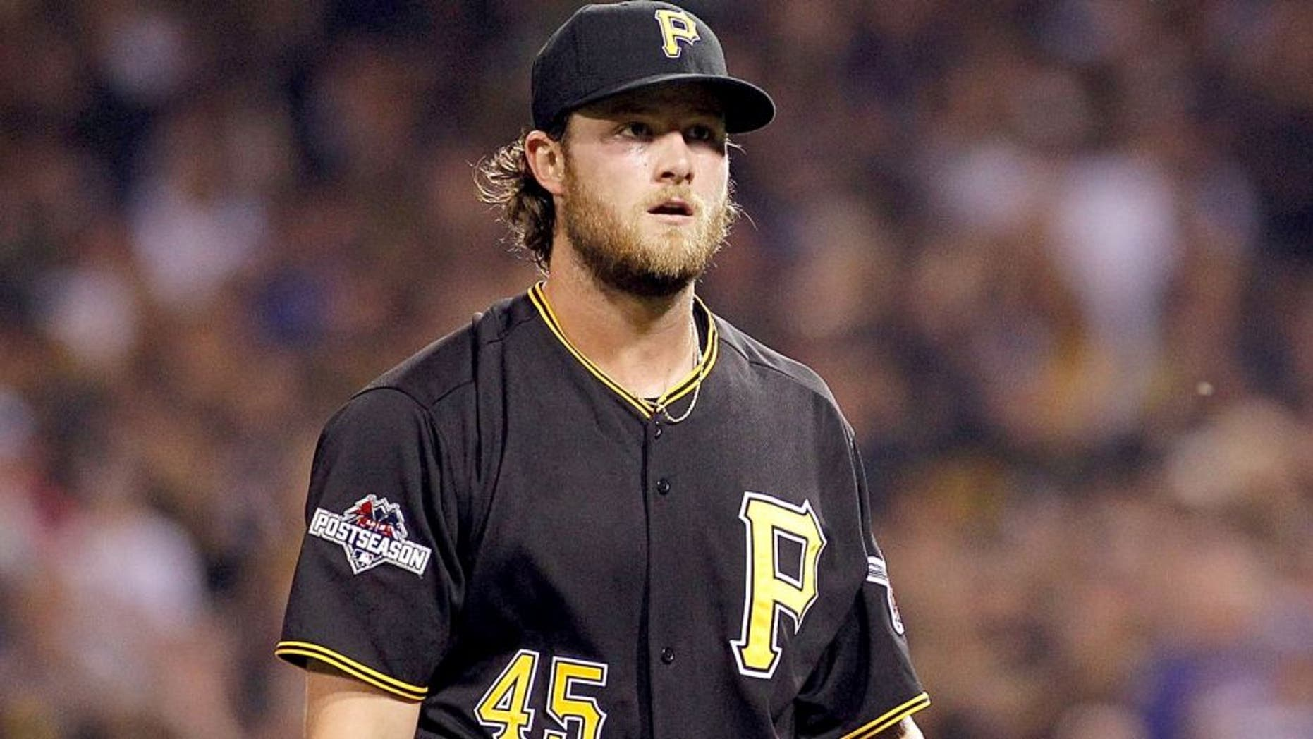 PITTSBURGH, PA - OCTOBER 07: Gerrit Cole #45 of the Pittsburgh Pirates walks off the field after the first inning against the Chicago Cubs during the National League Wild Card game at PNC Park on October 7, 2015 in Pittsburgh, Pennsylvania. (Photo by Justin K. Aller/Getty Images)
