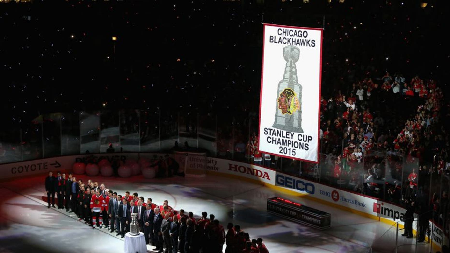 CHICAGO, IL - OCTOBER 07: The 2015 Championship banner is raised before the Chicago Blackhawks take on the New York Rangers during an NHL game at the United Center on October 7, 2015 in Chicago, Illinois. (Photo by Jonathan Daniel/Getty Images)