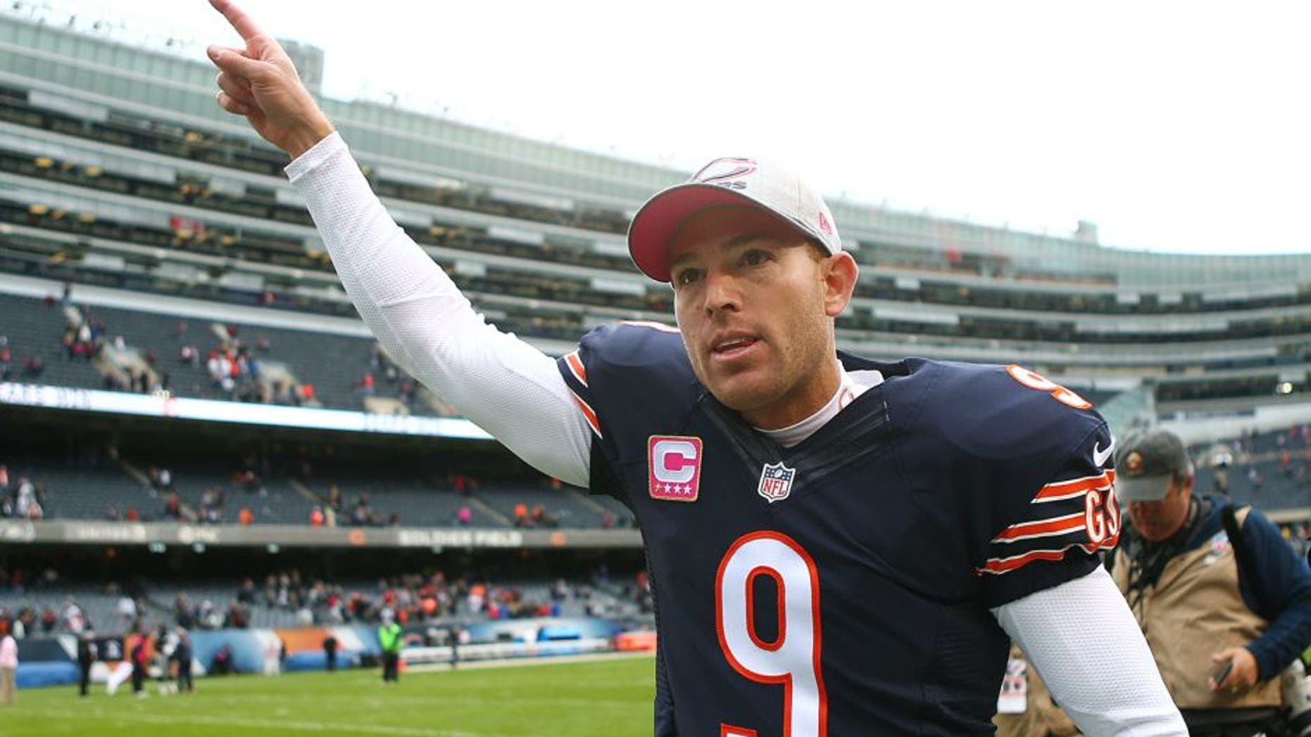 Oct 4, 2015; Chicago, IL, USA; Chicago Bears kicker Robbie Gould (9) runs off the field after the game against the Oakland Raiders at Soldier Field. Mandatory Credit: Jerry Lai-USA TODAY Sports