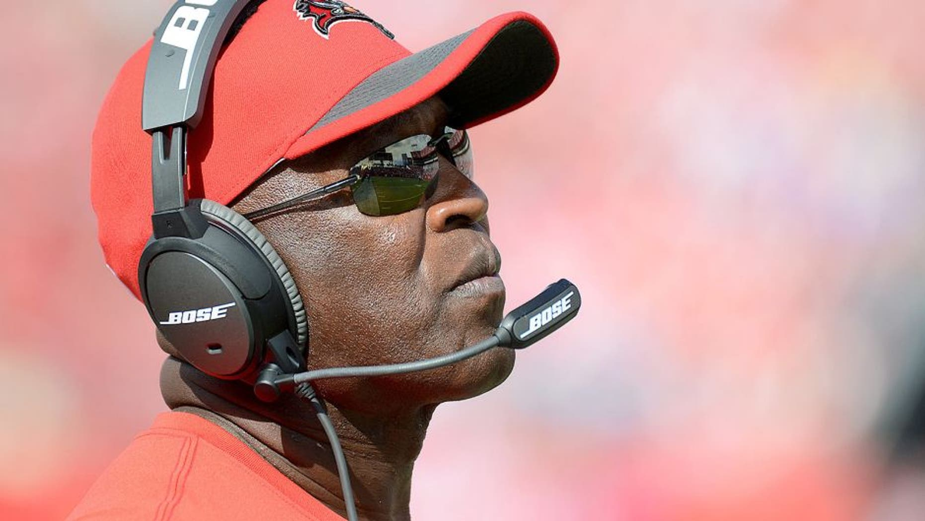 Oct 4, 2015; Tampa, FL, USA; Tampa Bay Buccaneers head coach Lovie Smith looks on in the second half against the Carolina Panthers at Raymond James Stadium. The Carolina Panthers defeated the Tampa Bay Buccaneers 37-23. Mandatory Credit: Jonathan Dyer-USA TODAY Sports