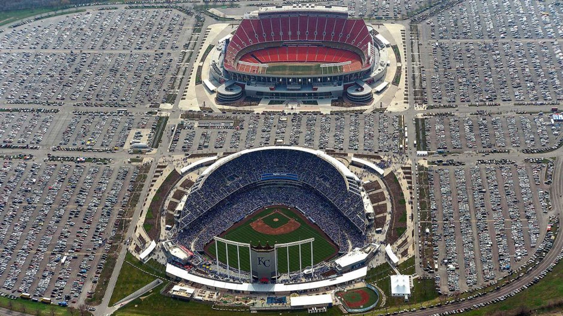April 08, 2013; Kansas City, MO, USA; A general aerial view during the opening day game between the Minnesota Twins and the Kansas City Royals at Kauffman Stadium. Also pictured is Arrowhead Stadium. Mandatory Credit: Denny Medley-USA TODAY Sports