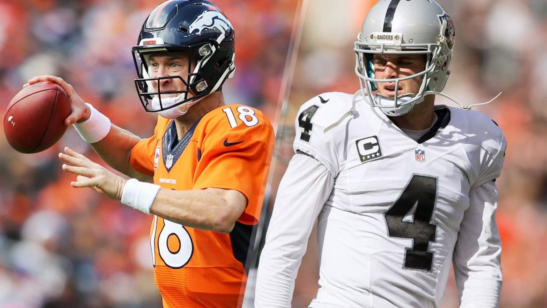 Oct 4, 2015; Denver, CO, USA; Denver Broncos quarterback Peyton Manning (18) looks to pass the ball during the first half against the Minnesota Vikings at Sports Authority Field at Mile High. Mandatory Credit: Chris Humphreys-USA TODAY Sports Sep 27, 2015; Cleveland, OH, USA; Oakland Raiders quarterback Derek Carr (4) during the third quarter against the Cleveland Browns at FirstEnergy Stadium. Mandatory Credit: Scott R. Galvin-USA TODAY Sports