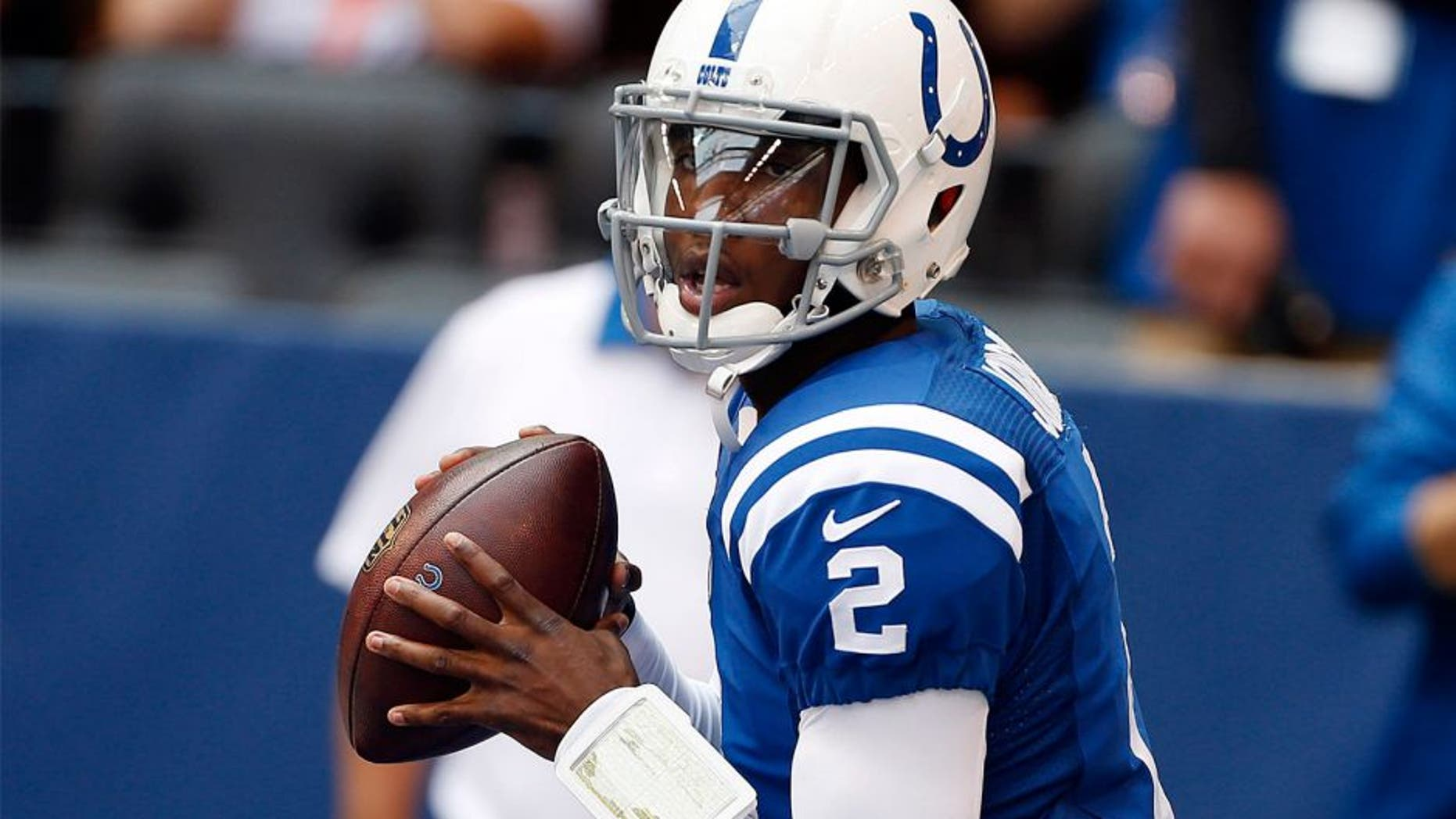 Oct 4, 2015; Indianapolis, IN, USA; Indianapolis Colts quarterback Josh Johnson (2) warms up before the game against the Jacksonville Jaguars at Lucas Oil Stadium. Mandatory Credit: Brian Spurlock-USA TODAY Sports