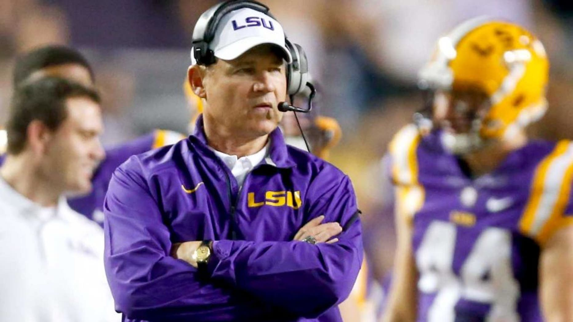 Sep 27, 2014; Baton Rouge, LA, USA; LSU Tigers head coach Les Miles against the New Mexico State Aggies during the second half of a game at Tiger Stadium. LSU defeated New Mexico State 63-7. Mandatory Credit: Derick E. Hingle-USA TODAY Sports