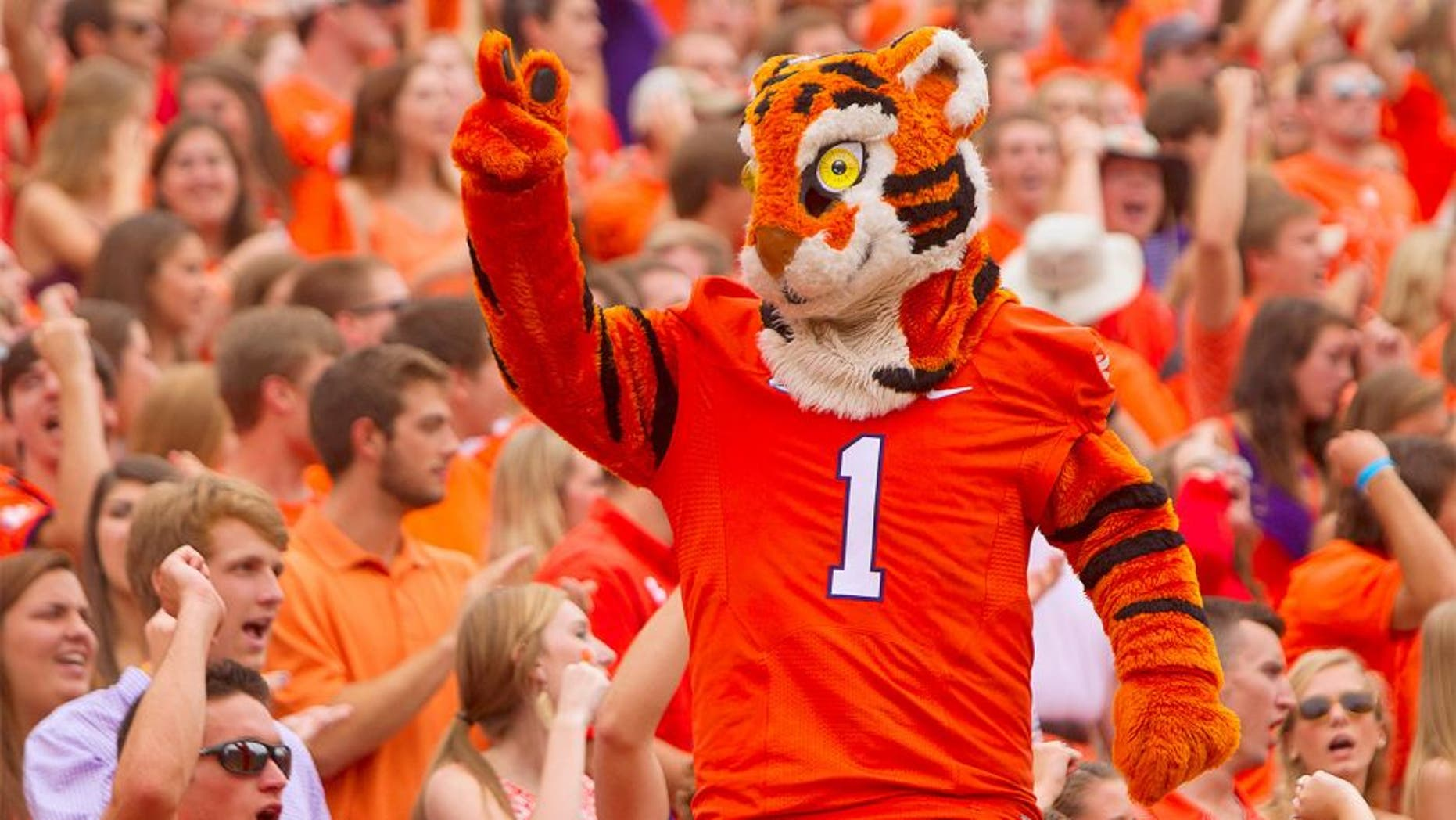 Sep 12, 2015; Clemson, SC, USA; Clemson Tigers mascot during the first quarter against the Appalachian State Mountaineers at Clemson Memorial Stadium. Mandatory Credit: Joshua S. Kelly-USA TODAY Sports
