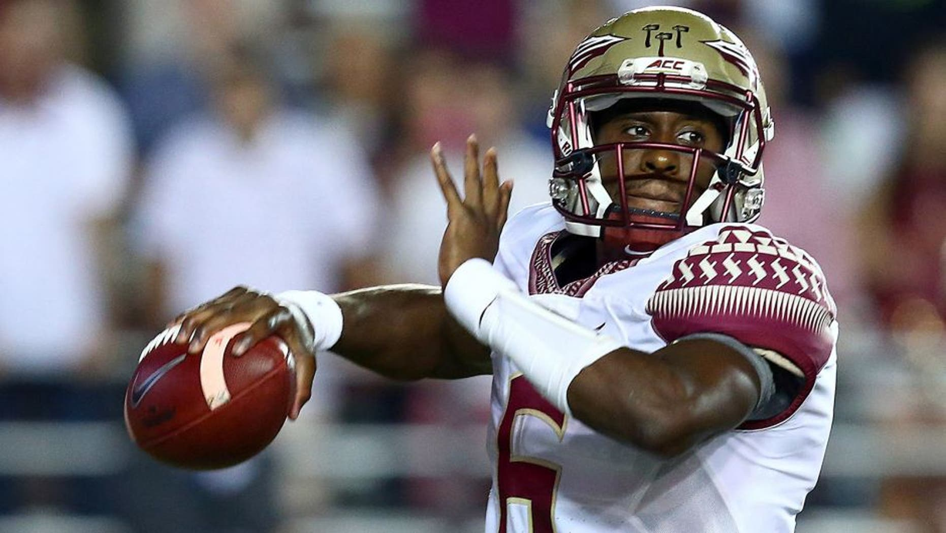 Sep 18, 2015; Boston, MA, USA; Florida State Seminoles quarterback Everett Golson (6) throws the ball against the Boston College Eagles during the first half at Alumni Stadium. Mandatory Credit: Mark L. Baer-USA TODAY Sports