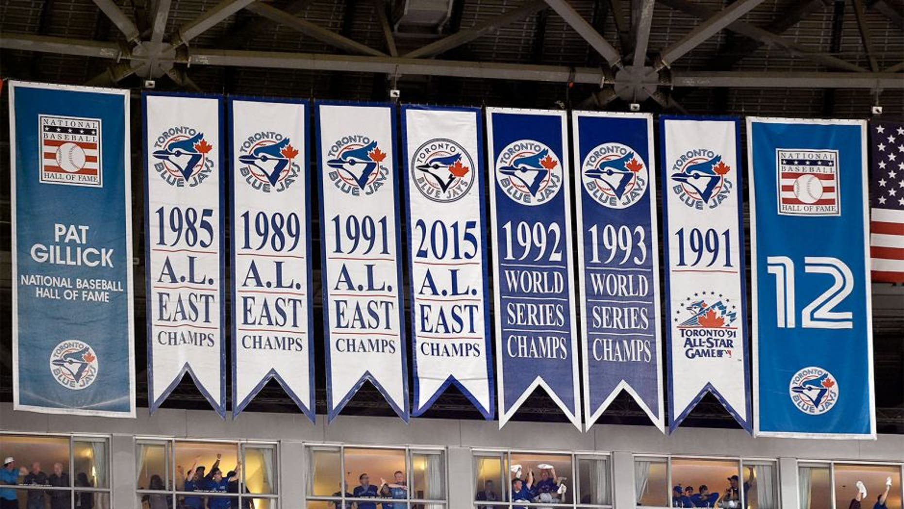 Oct 8, 2015; Toronto, Ontario, CAN; General view of Toronto Blue Jays pennants for past American League and World Series championships are seen prior to game one of the ALDS against the Texas Rangers at Rogers Centre. Mandatory Credit: Peter Llewellyn-USA TODAY Sports