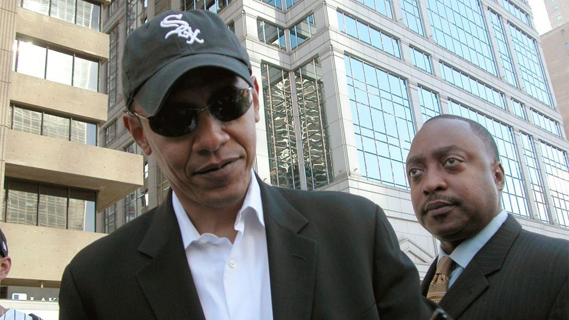 Barack Obama at the White Sox World Series Ticker Tape Parade in Chicago, IL, October 28, 2005.