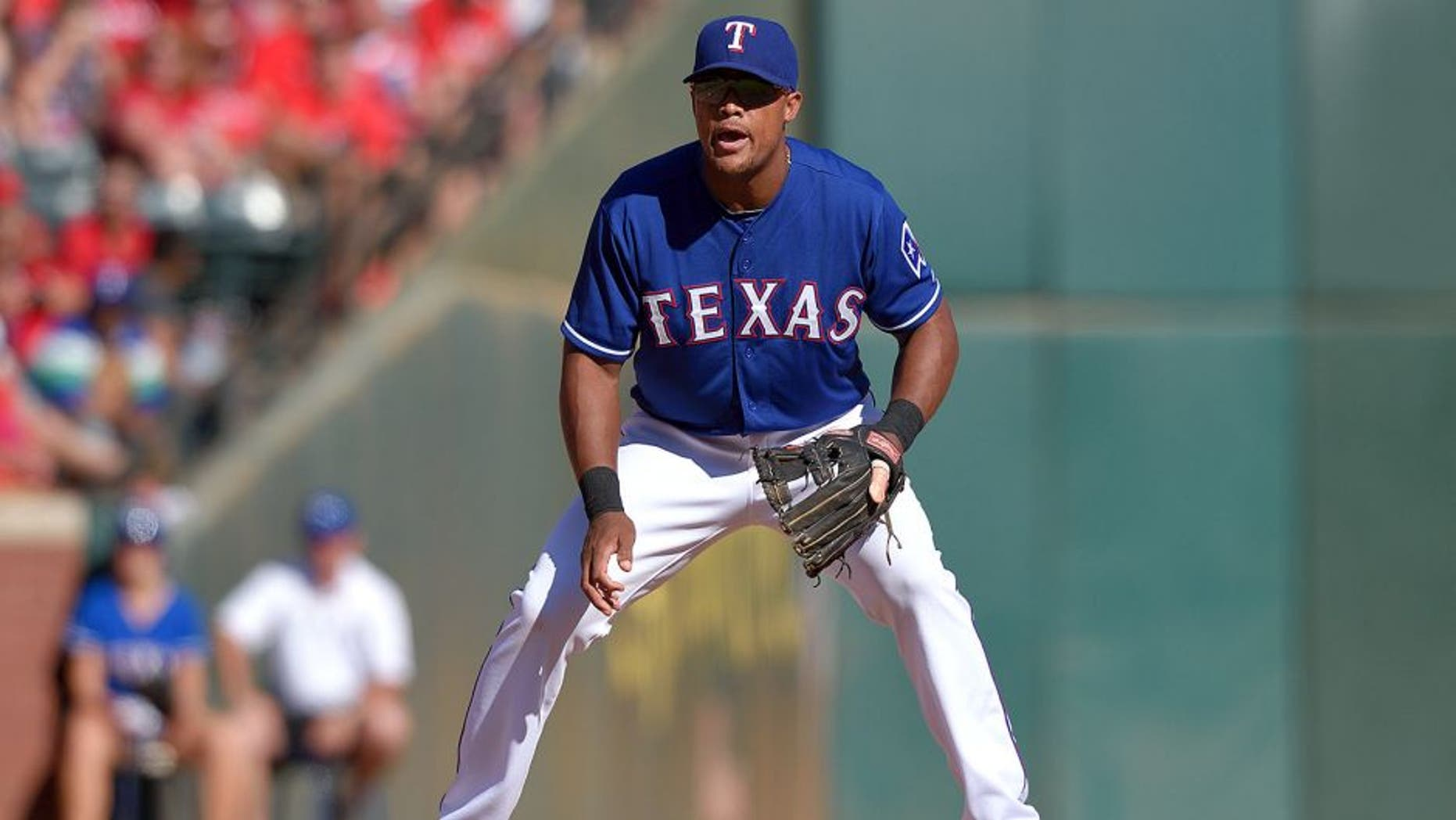 ARLINGTON, TX - OCTOBER 4: Adrian Beltre #29 of the Texas Rangers during the seventh inning of the game against the Los Angeles Angels of Anaheim at Globe Life Park in Arlington on October 4, 2015 in Arlington, California. (Photo by Matt Brown/Angels Baseball LP/Getty Images)