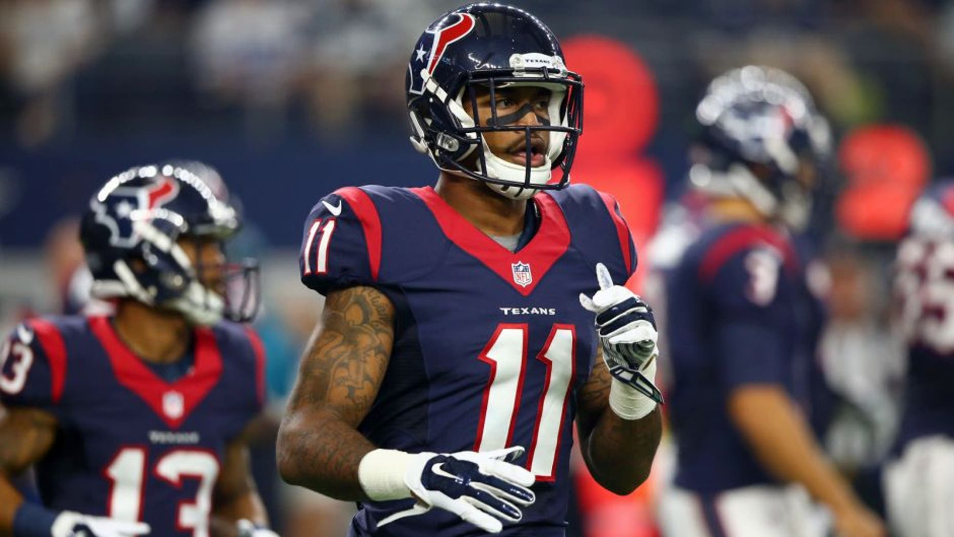 ARLINGTON, TX - SEPTEMBER 03: Jaelen Strong #11 of the Houston Texans during a preseason game on September 3, 2015 in Arlington, Texas. (Photo by Ronald Martinez/Getty Images)