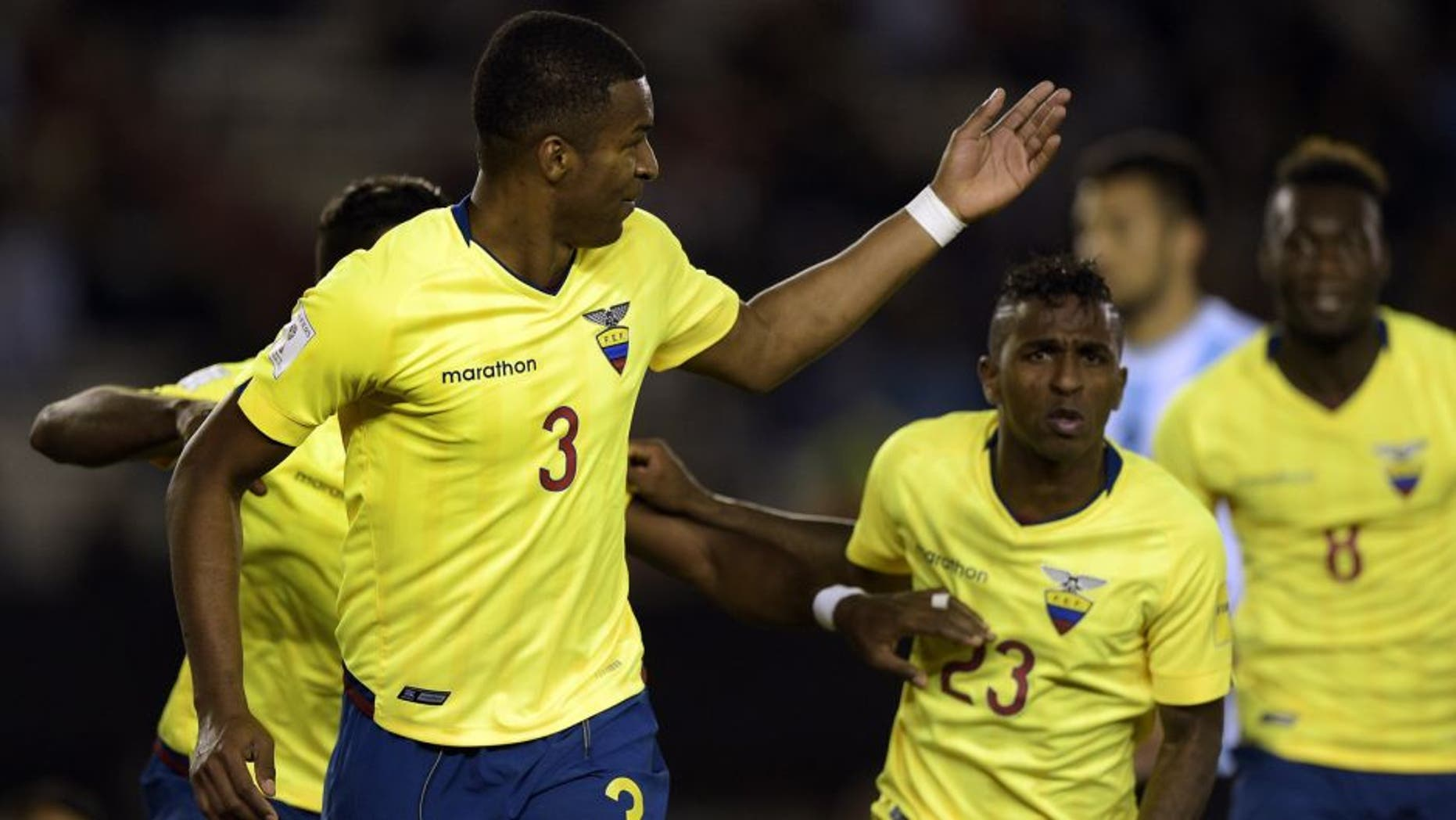 Ecuador's defender Frickson Erazo (L) celebrates after scoring against Argentina during their Russia 2018 FIFA World Cup qualifiers match, at the Monumental stadium in Buenos Aires, on October 8, 2015. AFP PHOTO / JUAN MABROMATA (Photo credit should read JUAN MABROMATA/AFP/Getty Images)