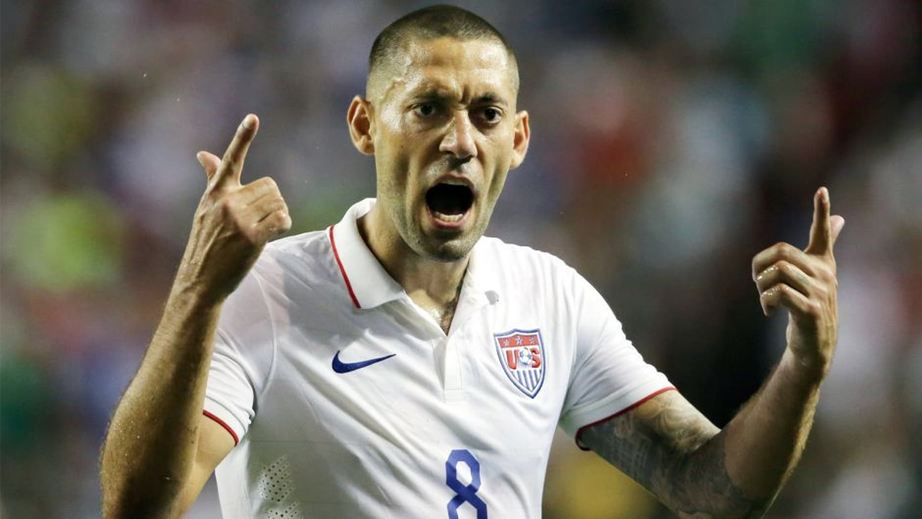 ATLANTA, GA - JULY 22: Clint Dempsey of United States of America yells during the 2015 CONCACAF Gold Cup Semifinal between USA and Jamaica at Georgia Dome on July 22, 2015 in Atlanta, Georgia. (Photo by Matthew Ashton - AMA/Getty Images)