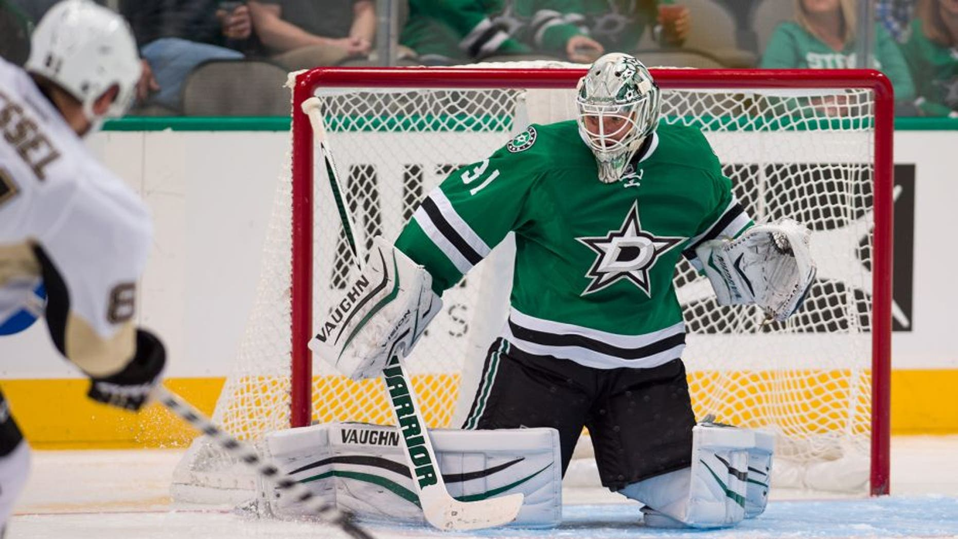 Oct 8, 2015; Dallas, TX, USA; Dallas Stars goalie Antti Niemi (31) makes a save against Pittsburgh Penguins right wing Phil Kessel (81) during the third period at American Airlines Center. The Stars won 3-0. Mandatory Credit: Jerome Miron-USA TODAY Sports