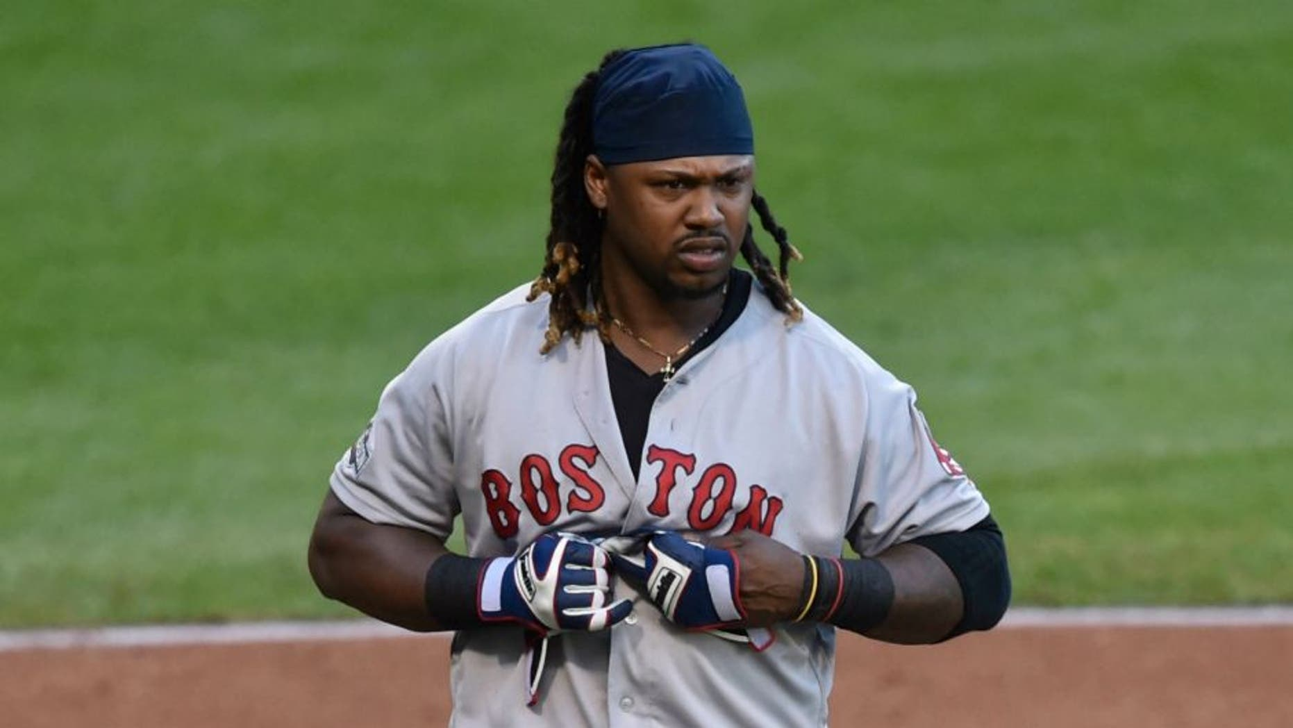 Oct 7, 2016; Cleveland, OH, USA; Boston Red Sox first baseman Hanley Ramirez (13) reacts after striking out to end in the top of the fourth inning against the Cleveland Indians in game two of the 2016 ALDS playoff baseball series at Progressive Field. Mandatory Credit: David Richard-USA TODAY Sports
