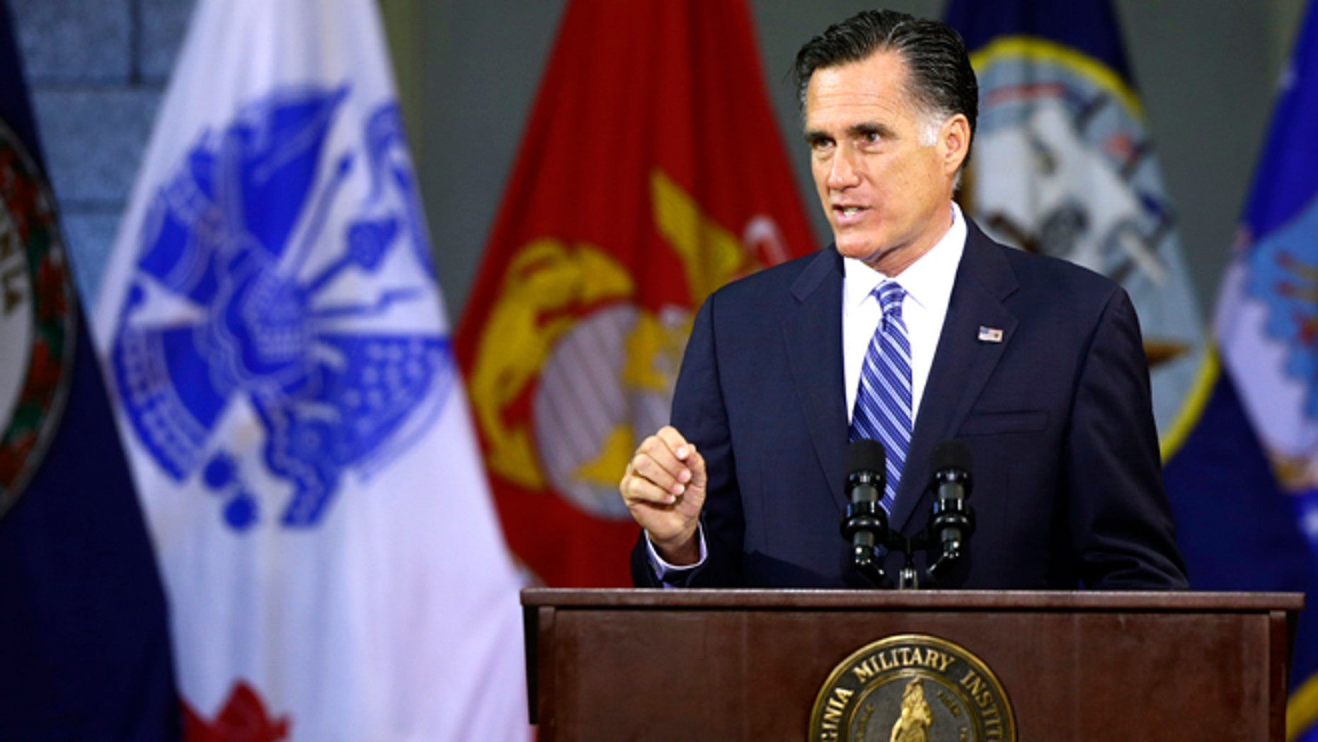 Oct. 8, 2012: Republican presidential candidate Mitt Romney delivers a foreign policy speech at Virginia Military Institute (VMI) in Lexington, Va.