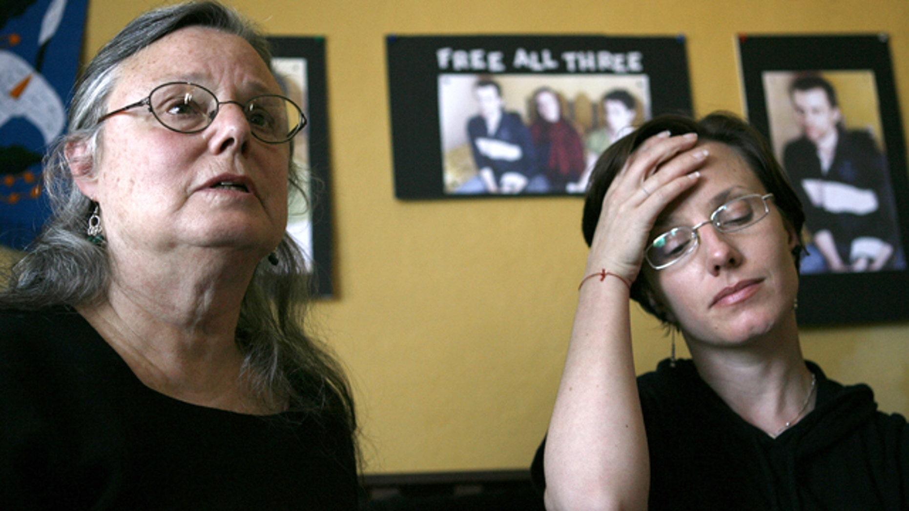 Oct. 9: Nora Shourd, left, along with her daughter, Sarah Shourd, speak to the media in Oakland, Calif.
