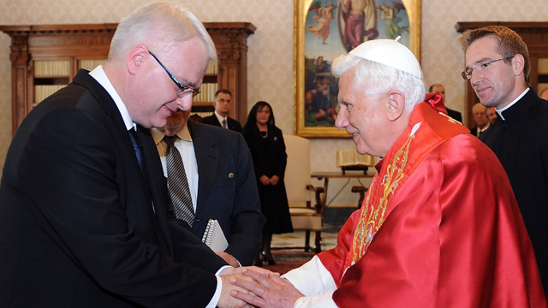 Oct. 9: Pope Benedict XVI, right, welcomes Croatian President Ivo Josipovic, on the occasion of their meeting at the Vatican.