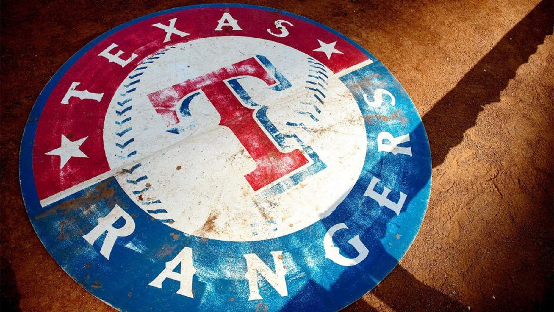 Sep 5, 2014; Arlington, TX, USA; A view of the Texas Rangers logo before the game between the Rangers and the Seattle Mariners at Globe Life Park in Arlington. Mandatory Credit: Jerome Miron-USA TODAY Sports
