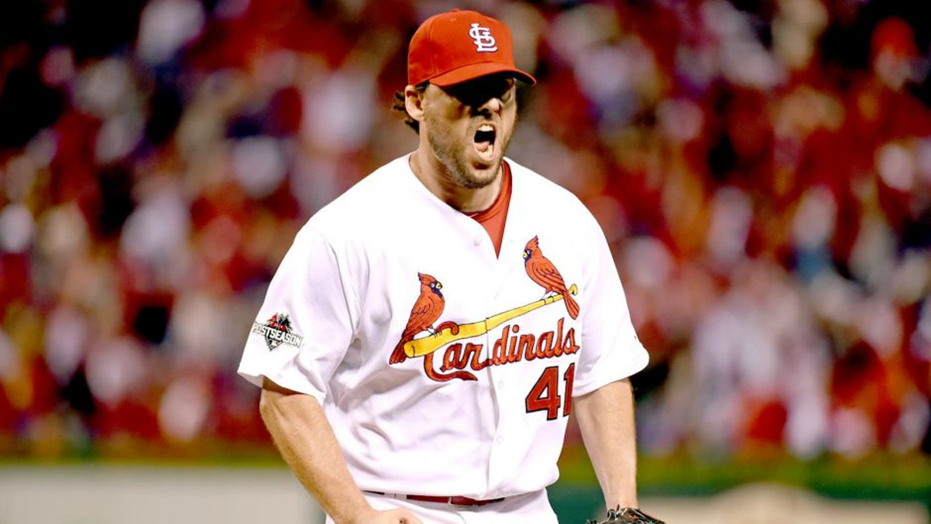 ST. LOUIS, MO - OCTOBER 9: John Lackey #41 of the St. Louis Cardinals reacts during Game 1 of the NLDS against the Chicago Cubs at Busch Stadium on Friday, October 9, 2015 in St. Louis, Missouri. (Photo by LG Patterson/MLB Photos via Getty Images)