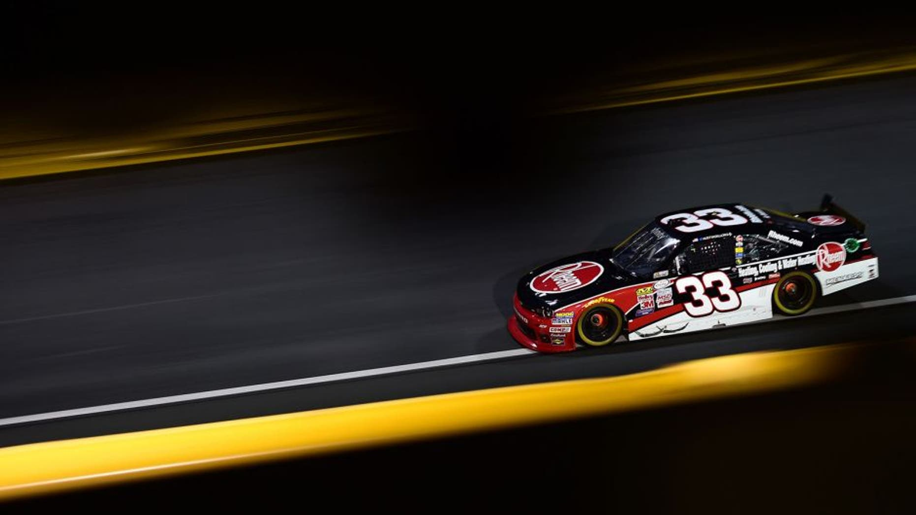 CHARLOTTE, NC - OCTOBER 09: Austin Dillon, driver of the #33 Rheem Chevrolet, races during the NASCAR XFINITY Series Drive for the Cure 300 at Charlotte Motor Speedway on October 9, 2015 in Charlotte, North Carolina. (Photo by Jared C. Tilton/NASCAR via Getty Images)