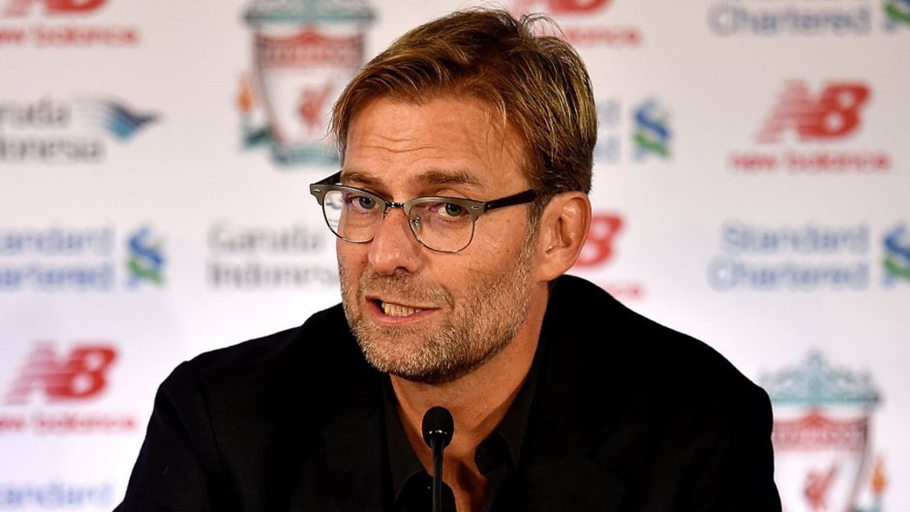 LIVERPOOL, ENGLAND - OCTOBER 09: (THE SUN OUT, THE SUN ON SUNDAY OUT) Jurgen Klopp new manager of Liverpool during a press conference at Anfield on October 9, 2015 in Liverpool, England. (Photo by Andrew Powell/Liverpool FC via Getty Images)