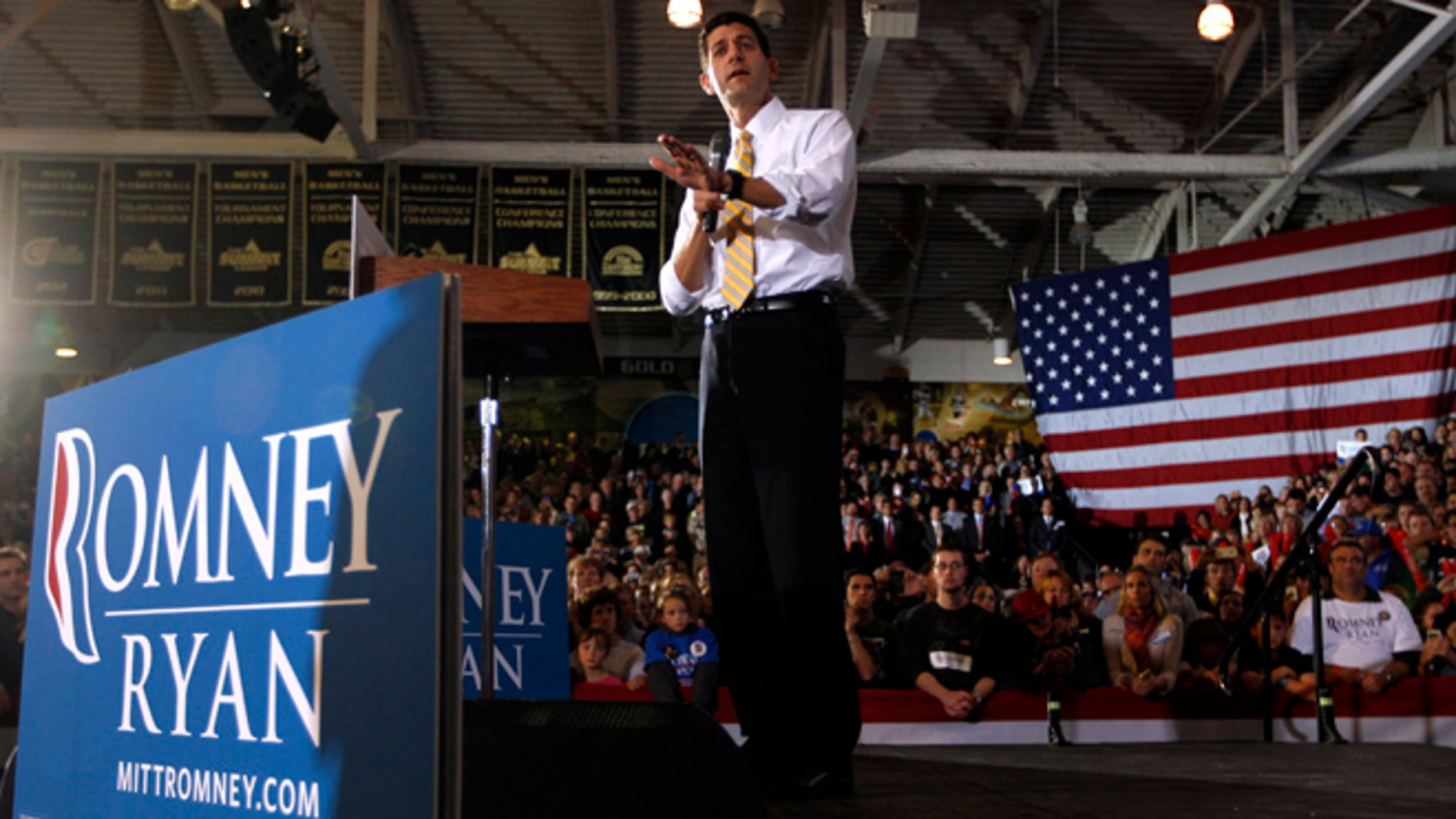 Oct. 8, 2012: Paul Ryan speaks during a campaign event at Oakland University in Rochester, Mich.
