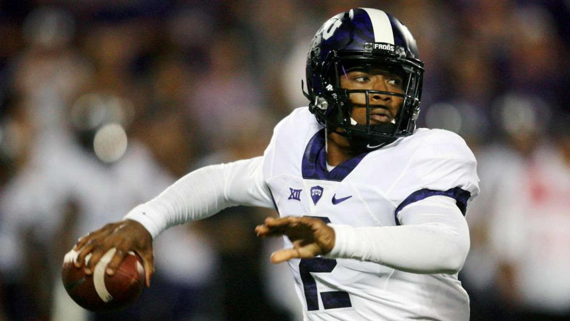 Oct 10, 2015; Manhattan, KS, USA; TCU Horned Frogs quarterback Trevone Boykin (2) drops back to pass during the game against the TCU Horned Frogs at Bill Snyder Family Football Stadium. Mandatory Credit: Scott Sewell-USA TODAY Sports