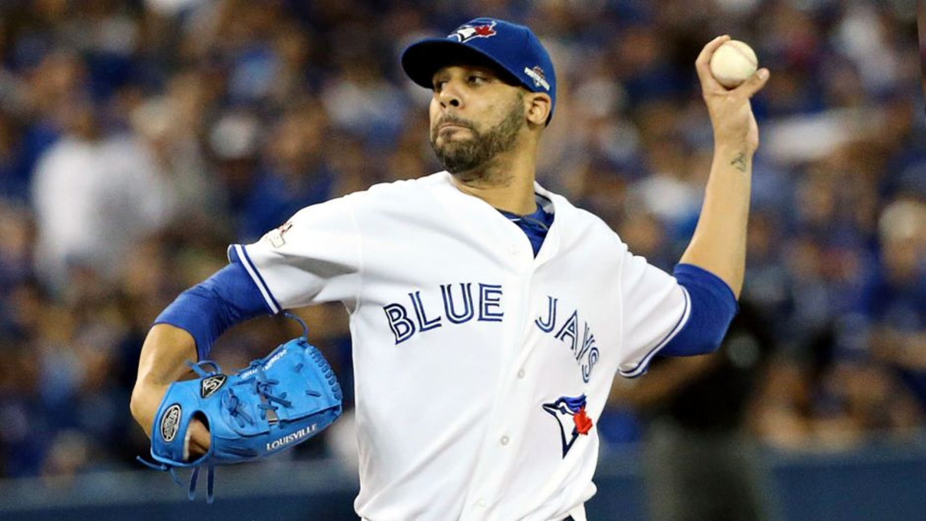 TORONTO, ON - OCTOBER 8: Toronto Blue Jays pitcher David Price pitches to the Texas Rangers during the first inning in Game 1 of MLB's ALDS baseball series in Toronto October 8, 2015. Steve Russell/Toronto Star/Toronto Star (Steve Russell/Toronto Star via Getty Images)