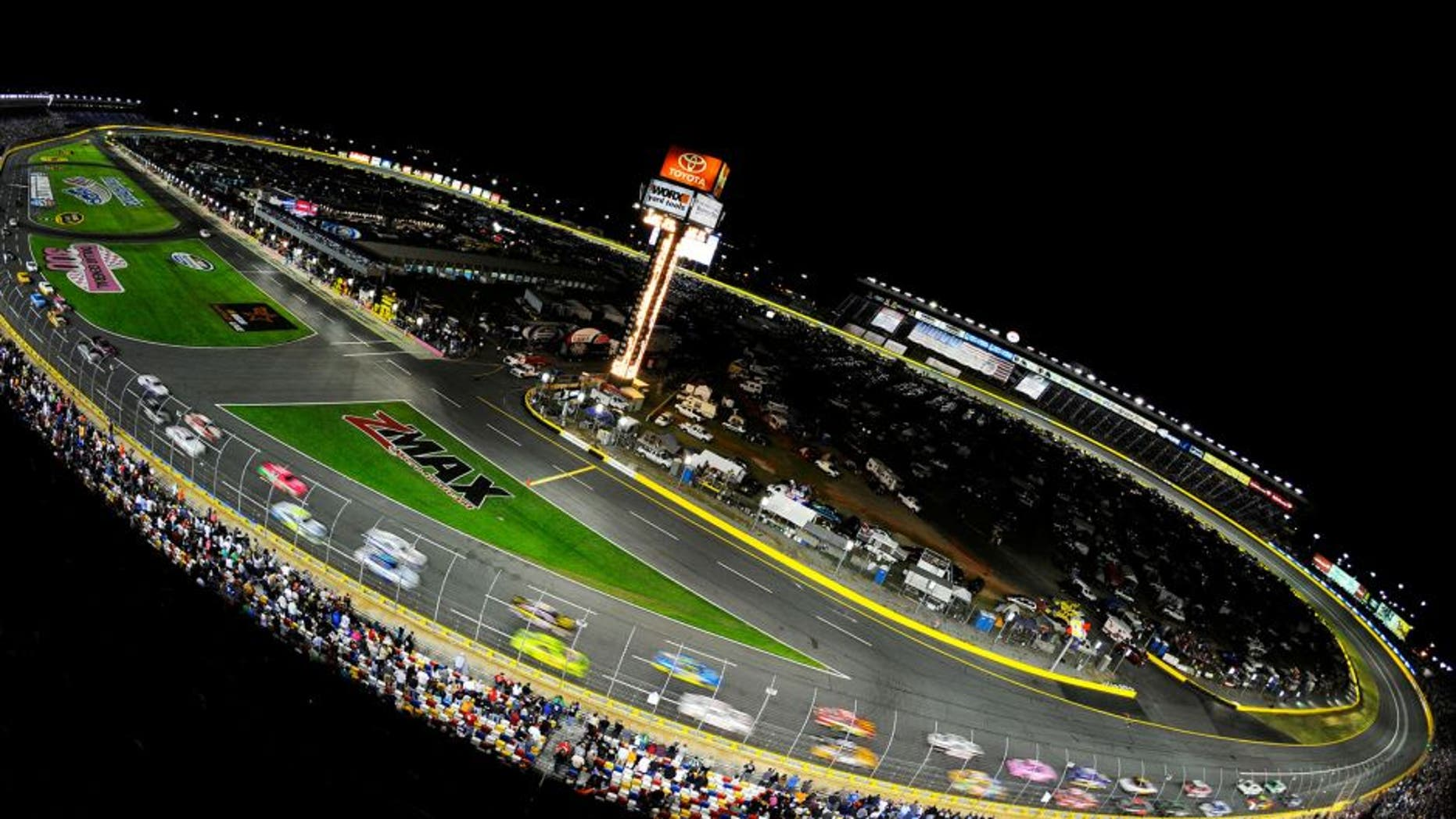 CONCORD, NC - OCTOBER 12: General view of cars racing the NASCAR Sprint Cup Series Bank of America 500 at Charlotte Motor Speedway on October 12, 2013 in Concord, North Carolina. (Photo by Jared C. Tilton/NASCAR via Getty Images)