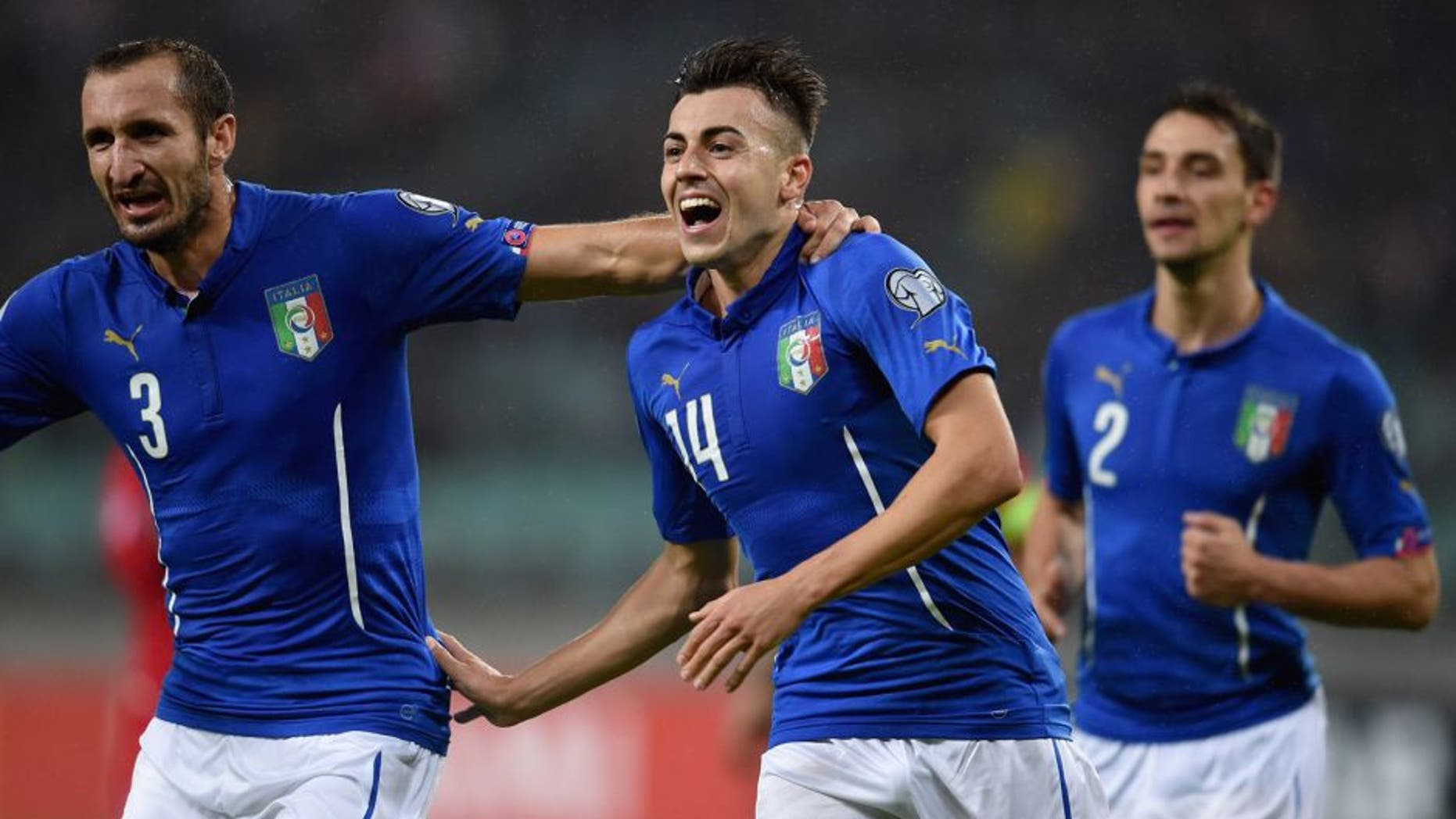 BAKU, AZERBAIJAN - OCTOBER 10: El Shaarawy of Italy #14 celebrates after scoring the second goal during the UEFA Euro 2016 qualifying football match between Azerbaijan and Italy at Olympic Stadium on October 10, 2015 in Baku, Azerbaijan. (Photo by Claudio Villa/Getty Images)