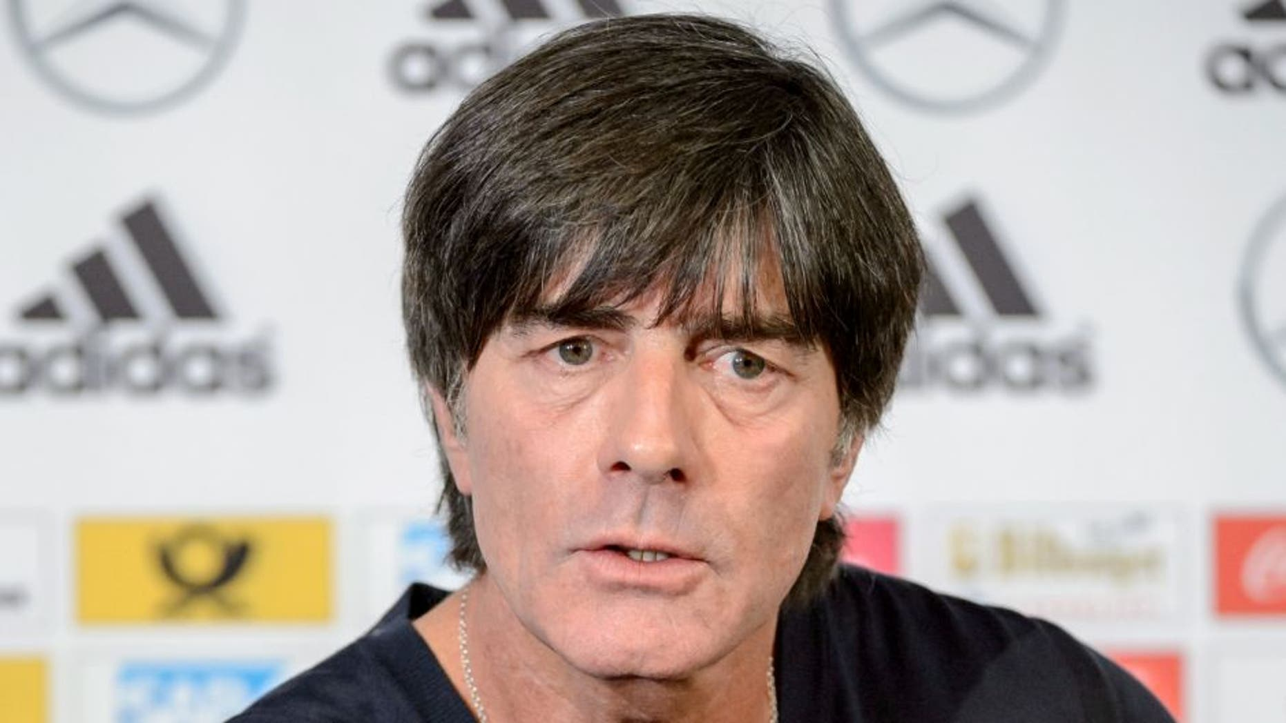LEIPZIG, GERMANY - OCTOBER 10: Joachim Loew, head coach of German national team attends the German National Team press conference at Red Bull Arena on October 10, 2015 in Leipzig, Germany. (Photo by Jens Schlueter/Bongarts/Getty Images)