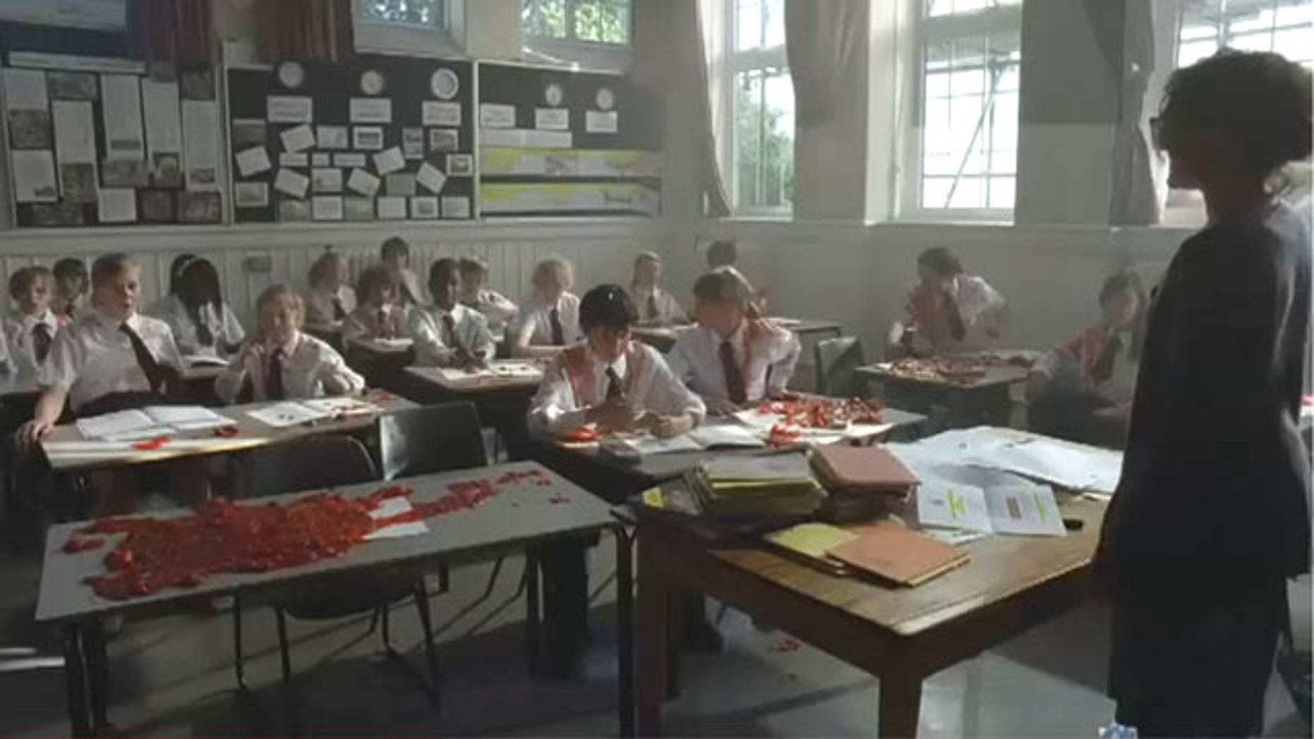 """The short film, """"No Pressure,"""" promoting the U.K.'s 10:10 climate change campaign, depicts a school teacher who blows up students who say they don't intend to reduce their carbon emissions."""