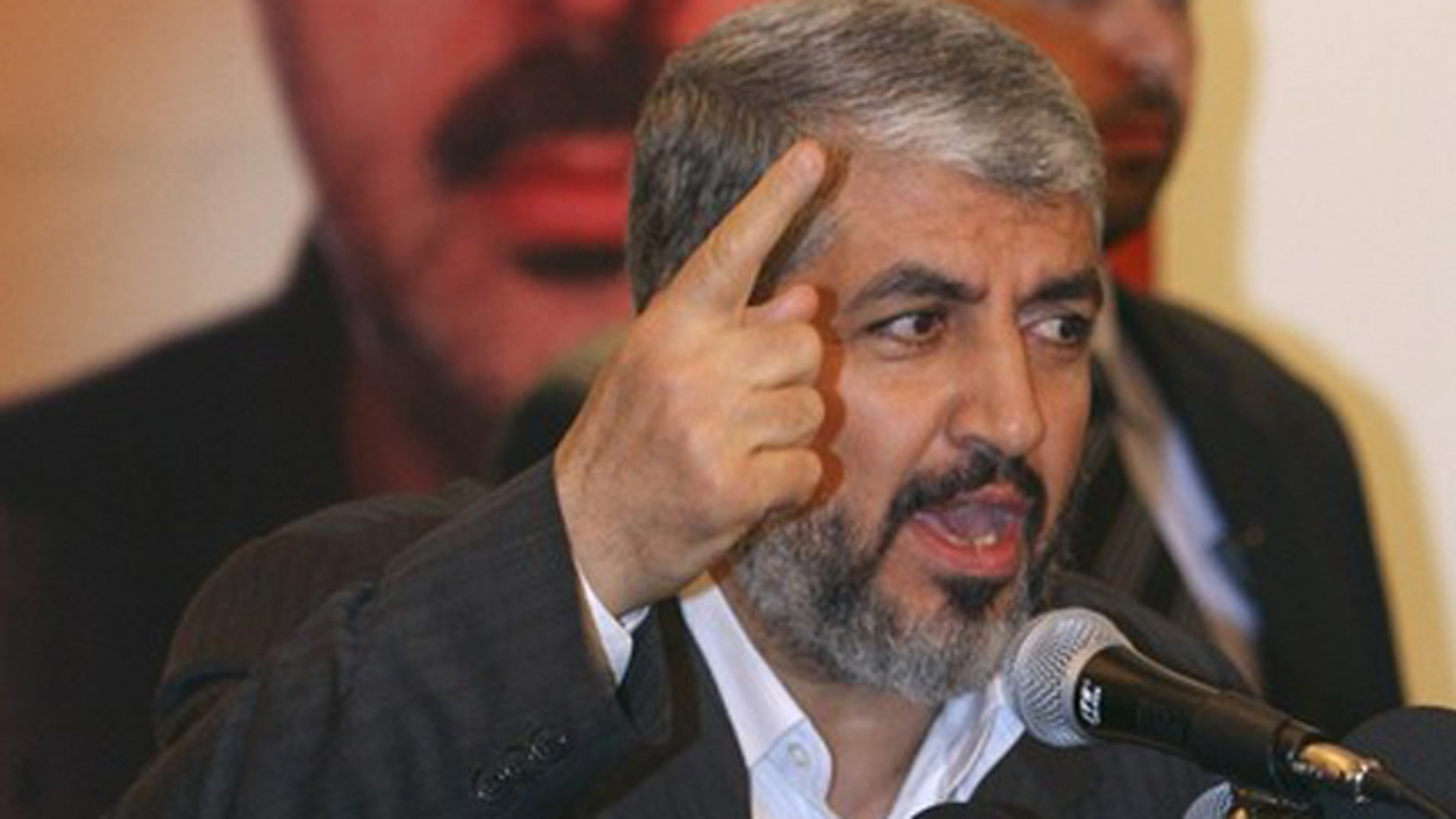 Jan. 31: Hamas leader Khaled Meshaal gives a speech during the funeral procession for Hamas commander Mahmoud al-Mabhouh in Damascus.