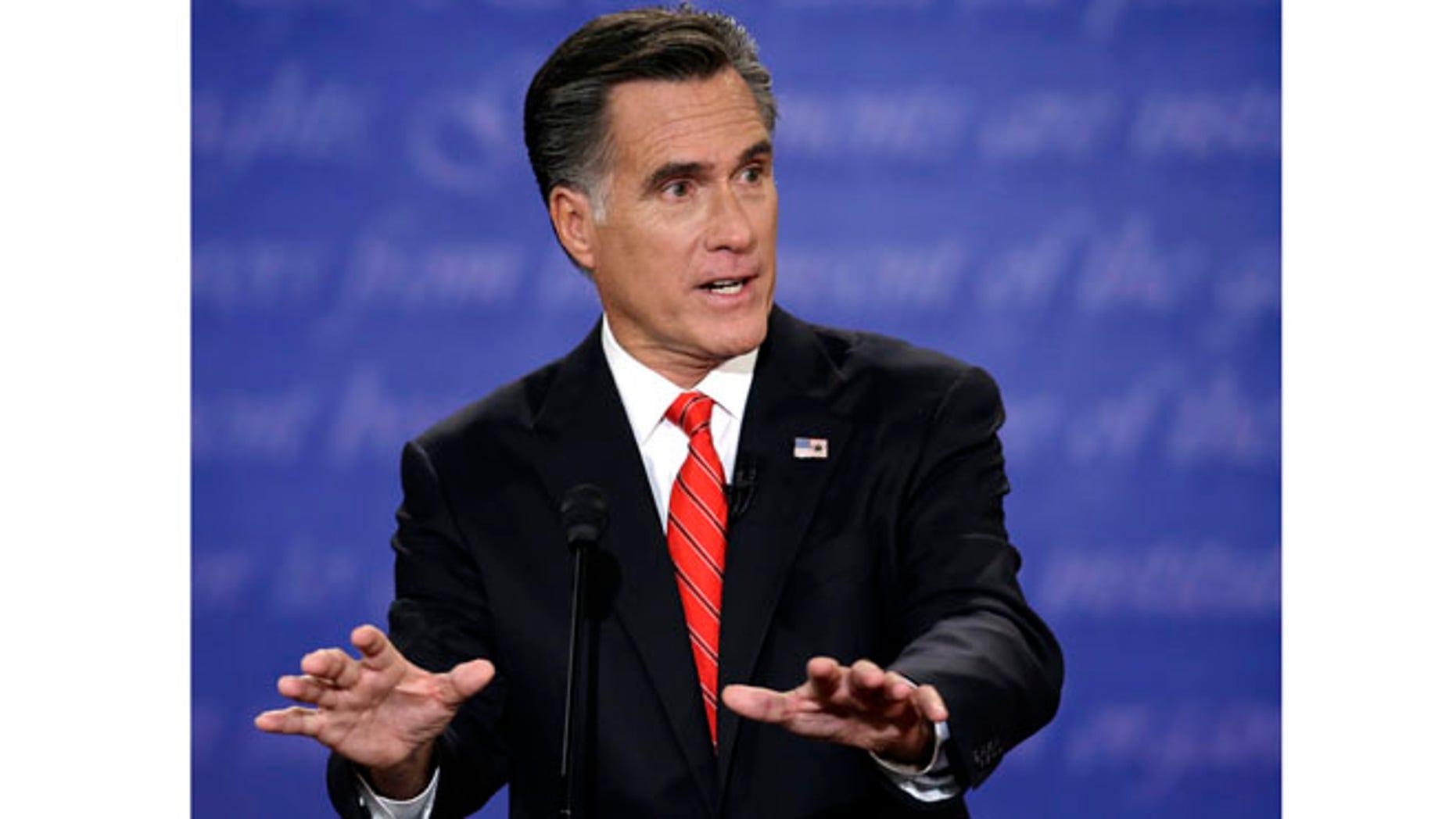 Oct. 3, 2012: Mitt Romney speaks during the first presidential debate.