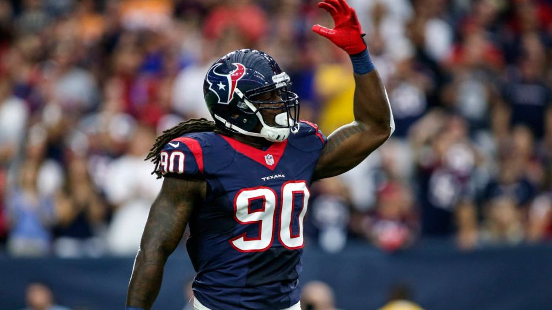 Sep 27, 2015; Houston, TX, USA; Houston Texans outside linebacker Jadeveon Clowney (90) reacts after a play during the first quarter against the Tampa Bay Buccaneers at NRG Stadium. Mandatory Credit: Troy Taormina-USA TODAY Sports