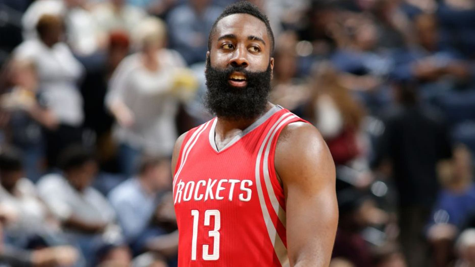MEMPHIS, TN - OCTOBER 6: James Harden #13 of the Houston Rockets looks on against the Memphis Grizzlies during a preseason game on October 6, 2015 at FedExForum in Memphis, Tennessee. NOTE TO USER: User expressly acknowledges and agrees that, by downloading and or using this photograph, User is consenting to the terms and conditions of the Getty Images License Agreement. Mandatory Copyright Notice: Copyright 2015 NBAE (Photo by Jeff Haynes/NBAE via Getty Images)