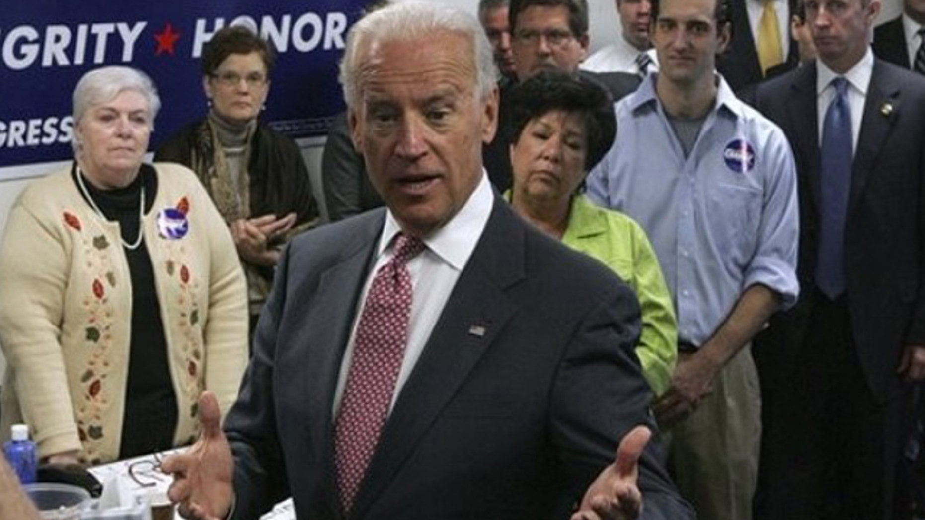 Vice President Joe Biden addresses volunteers and supporters at U.S. Rep. Chris Carney's Dickson City, Pa. campaign office on Monday, Oct. 11, 2010.  (AP Photo/Scranton Times & Tribune, Michael J. Mullen) WILKES BARRE TIMES-LEADER OUT; MANDATORY CREDIT