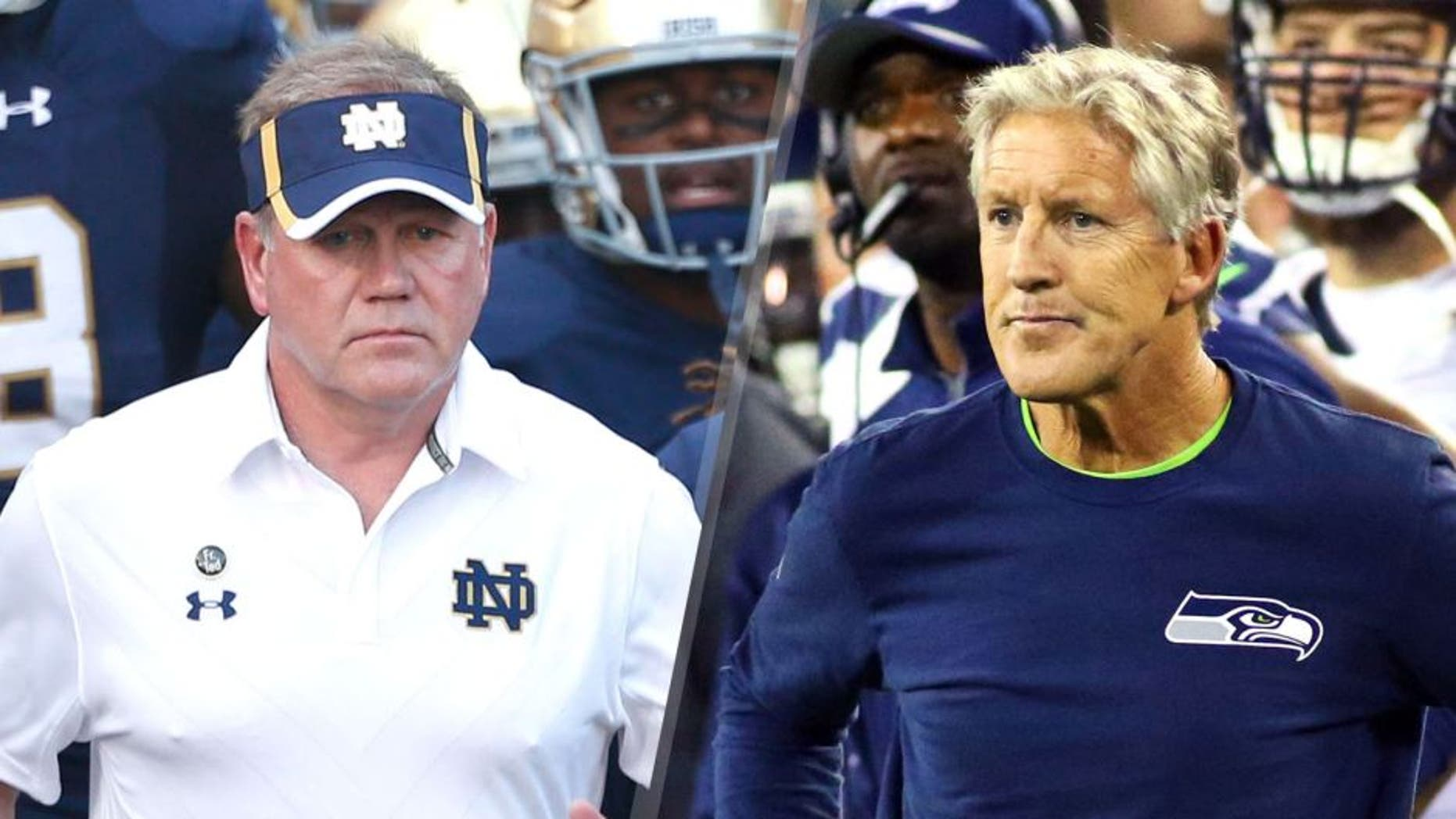 Sep 5, 2015; South Bend, IN, USA; Notre Dame Fighting Irish coach Brian Kelly leads his team onto the field before the game against the Texas Longhorns at Notre Dame Stadium. Mandatory Credit: Brian Spurlock-USA TODAY Sports, Sep 20, 2015; Green Bay, WI, USA; Seattle Seahawks head coach Pete Carroll on the sidelines against the Green Bay Packers during the second quarter at Lambeau Field. Mandatory Credit: Ray Carlin-USA TODAY Sports